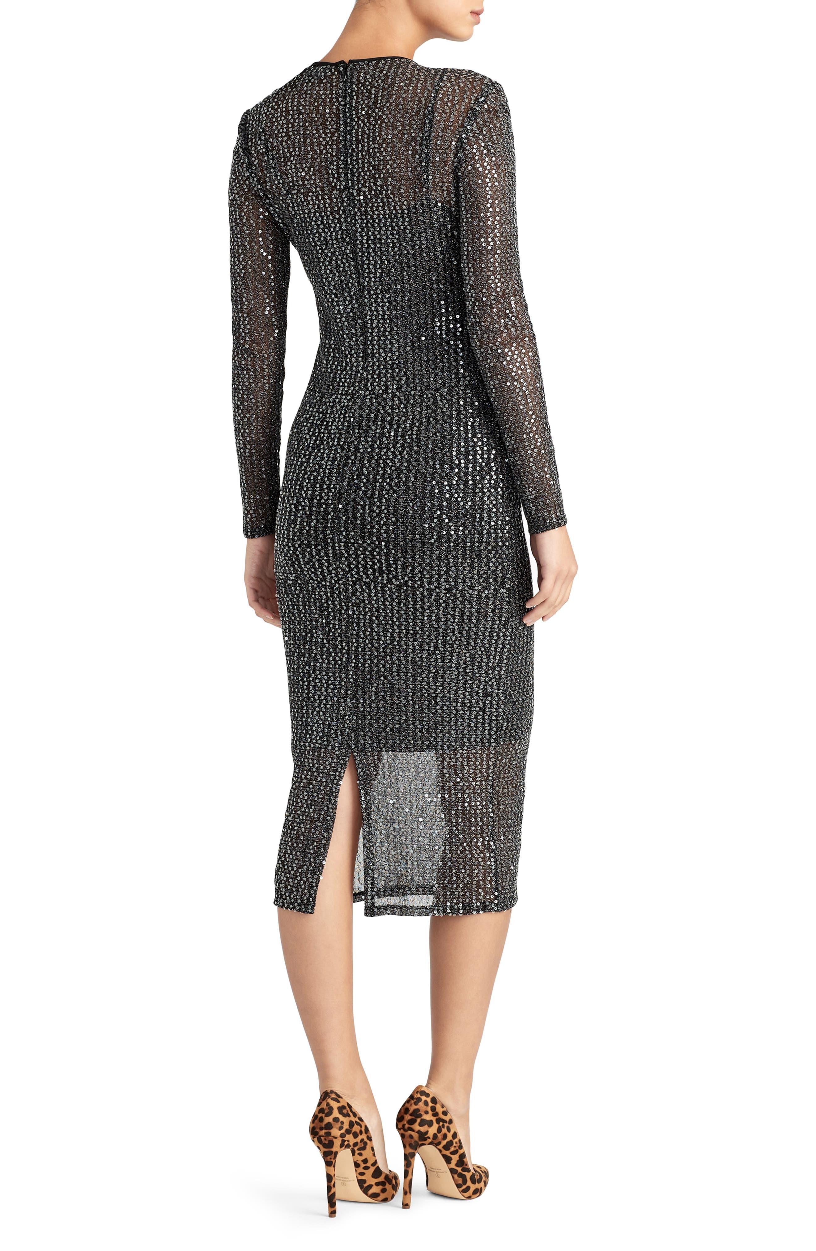 Sequin Midi Dress,                             Alternate thumbnail 2, color,                             BLACK