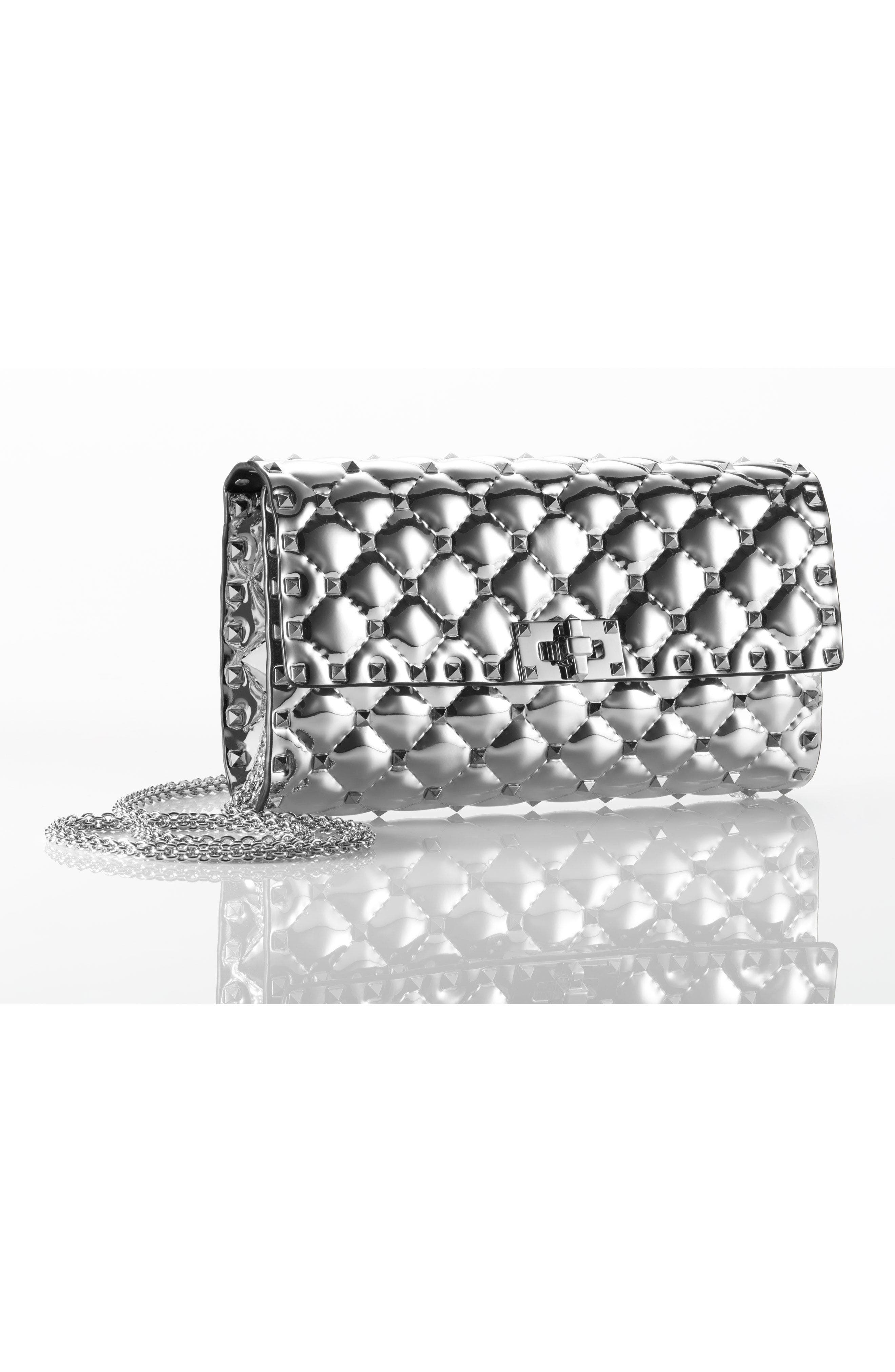 VALENTINO GARAVANI,                             Specchio Rockstud Spike Quilted Leather Clutch,                             Alternate thumbnail 7, color,                             040