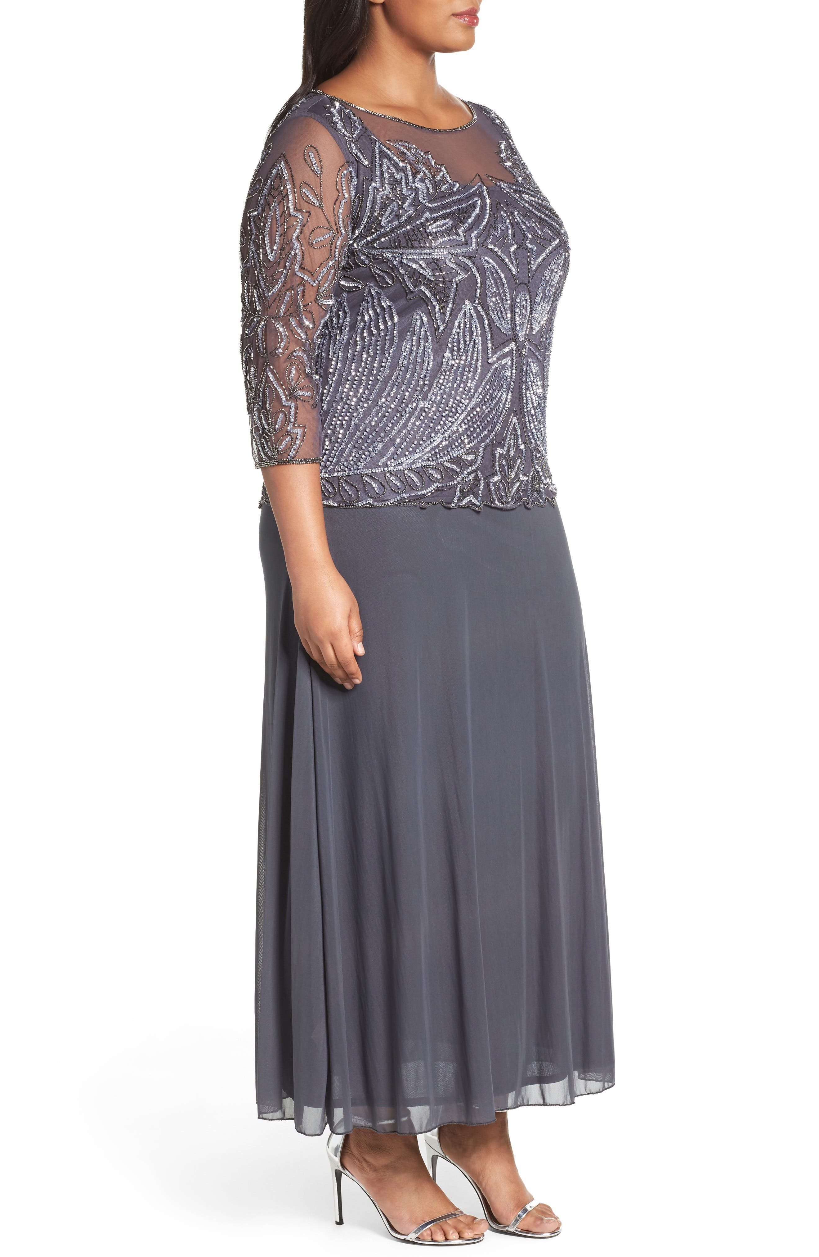 Illusion Neck Beaded A-Line Gown,                             Alternate thumbnail 3, color,                             NEW SLATE