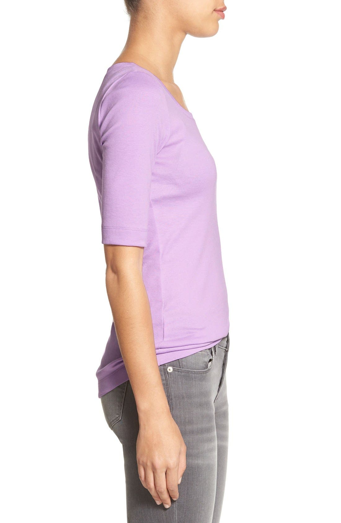 Ballet Neck Cotton & Modal Knit Elbow Sleeve Tee,                             Alternate thumbnail 91, color,