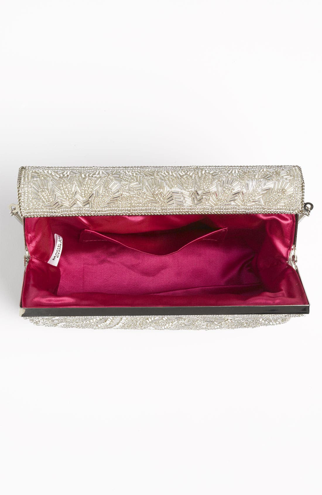 'Meadow' Beaded Frame Clutch,                             Alternate thumbnail 3, color,                             SILVER BEAD