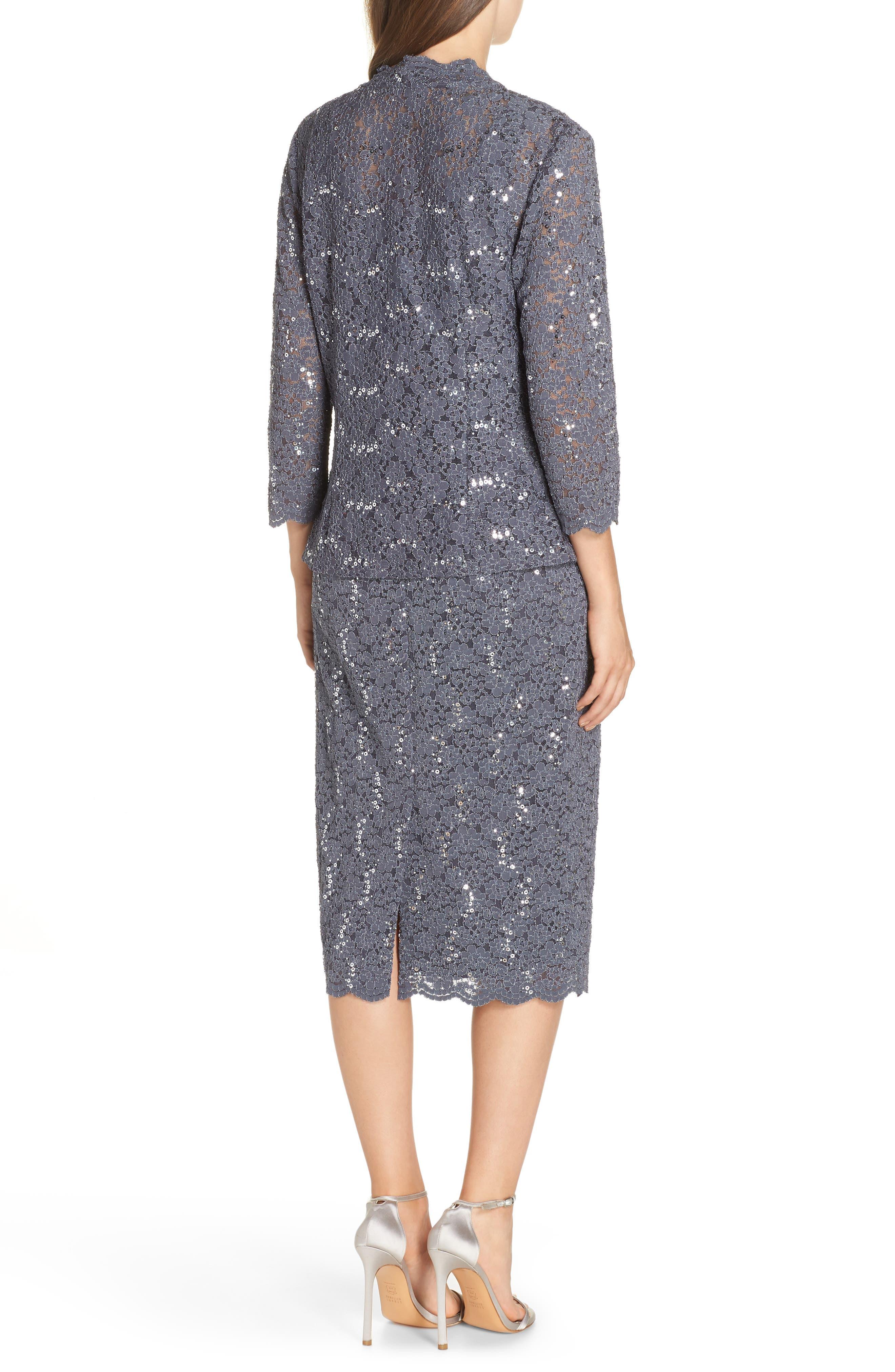 Sequin Lace Dress & Jacket,                             Alternate thumbnail 2, color,                             SMOKE