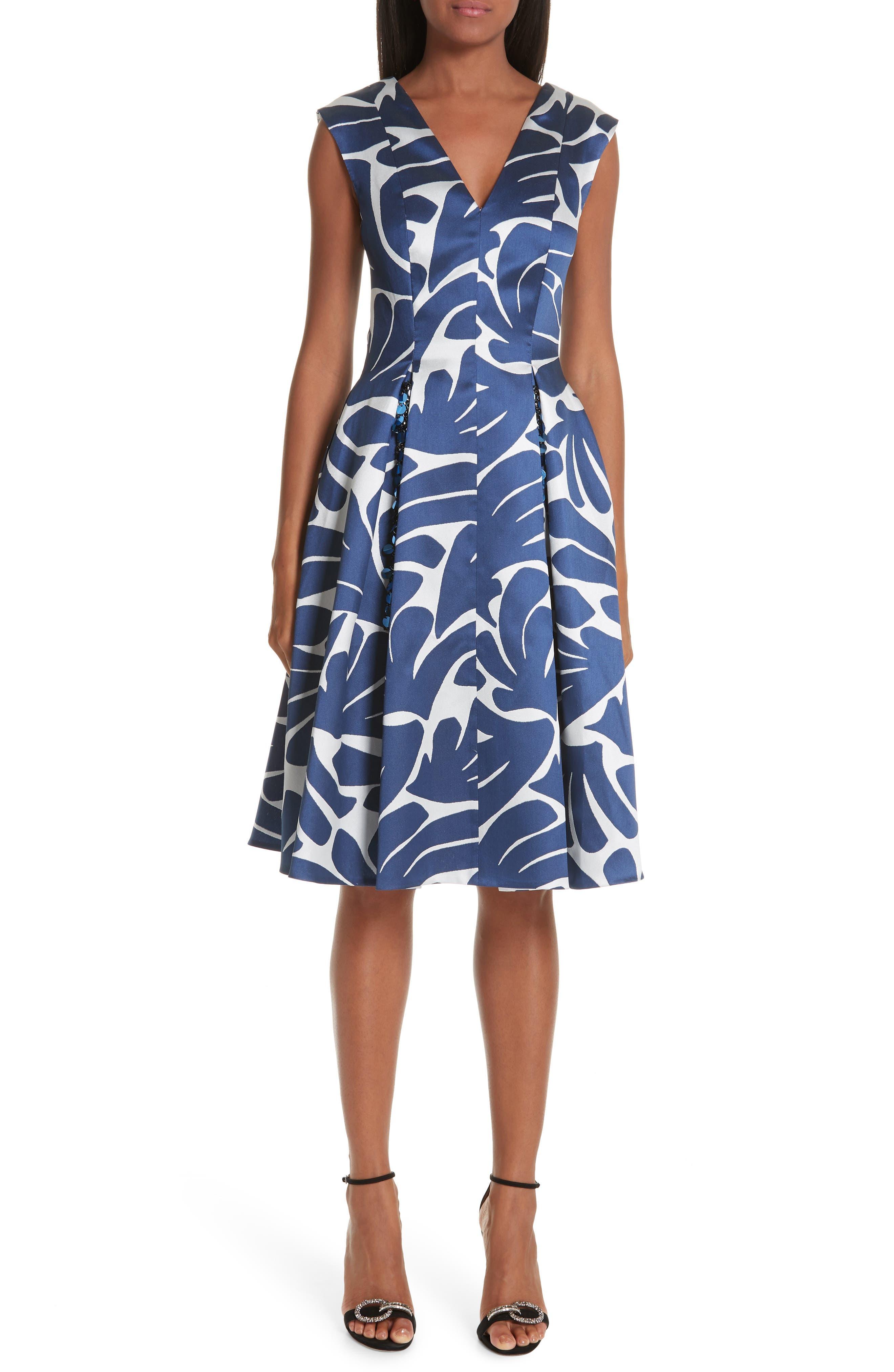 Talbot Runhof Print Cocktail Dress, Blue
