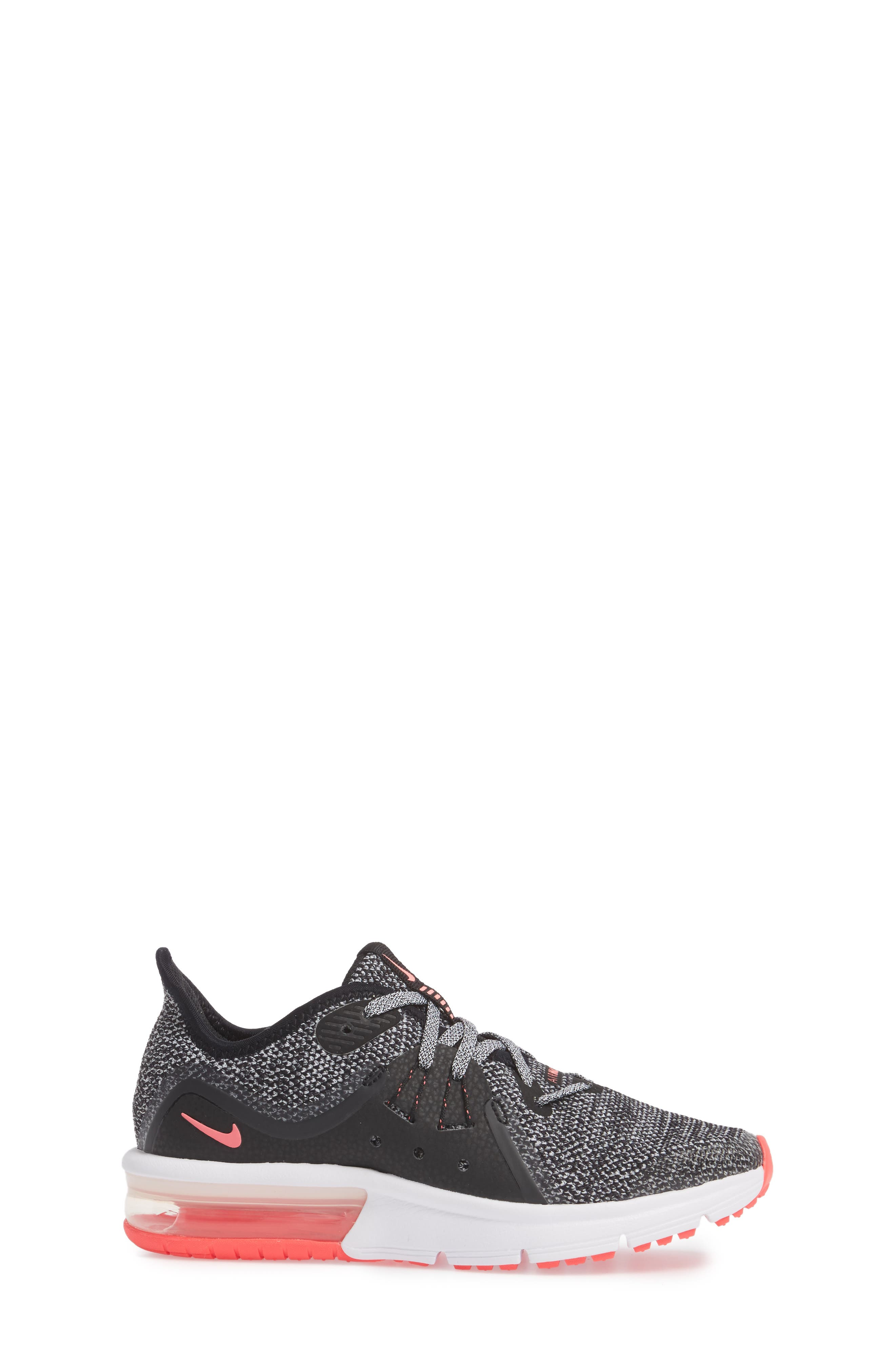 Air Max Sequent 3 GS Running Shoe,                             Alternate thumbnail 3, color,                             001