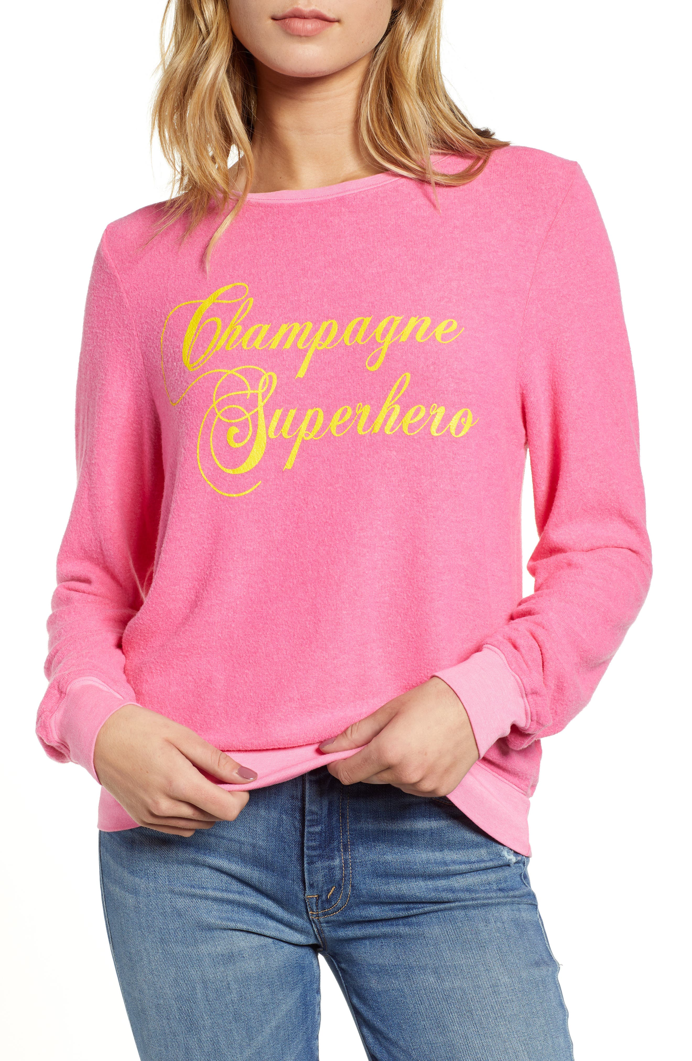 WILDFOX Baggy Beach Jumper - Champagne Superhero Pullover, Main, color, 650
