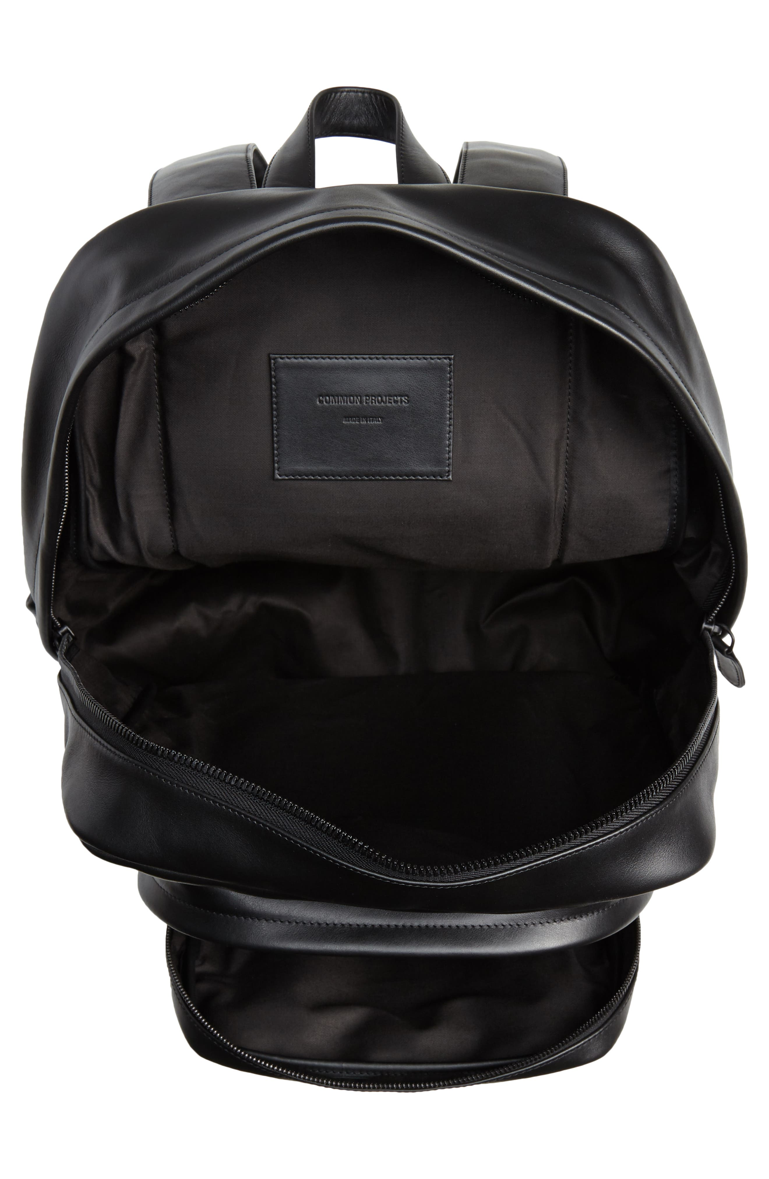 Leather Backpack,                             Alternate thumbnail 4, color,                             001