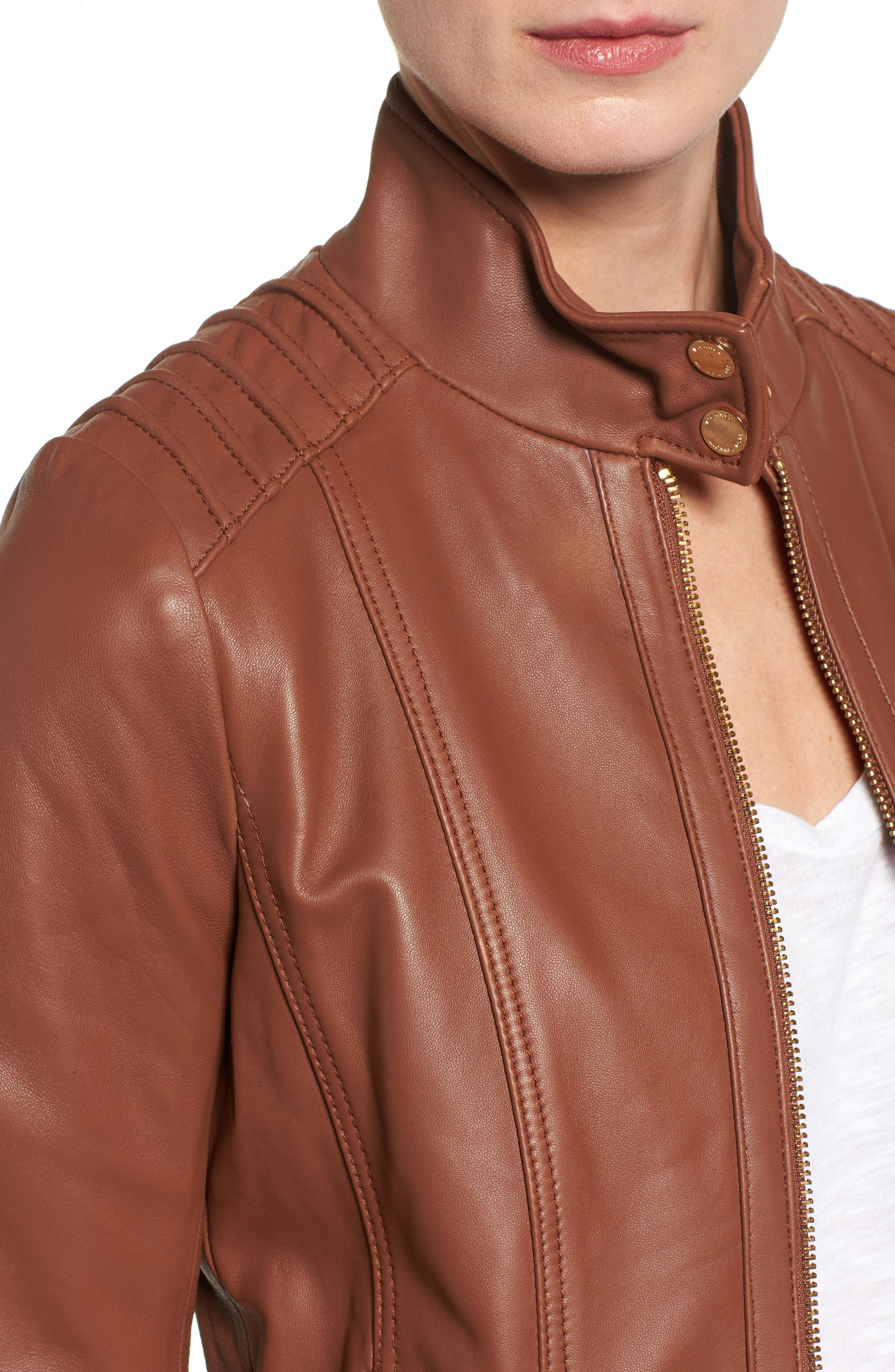 Leather Moto Jacket,                             Alternate thumbnail 8, color,