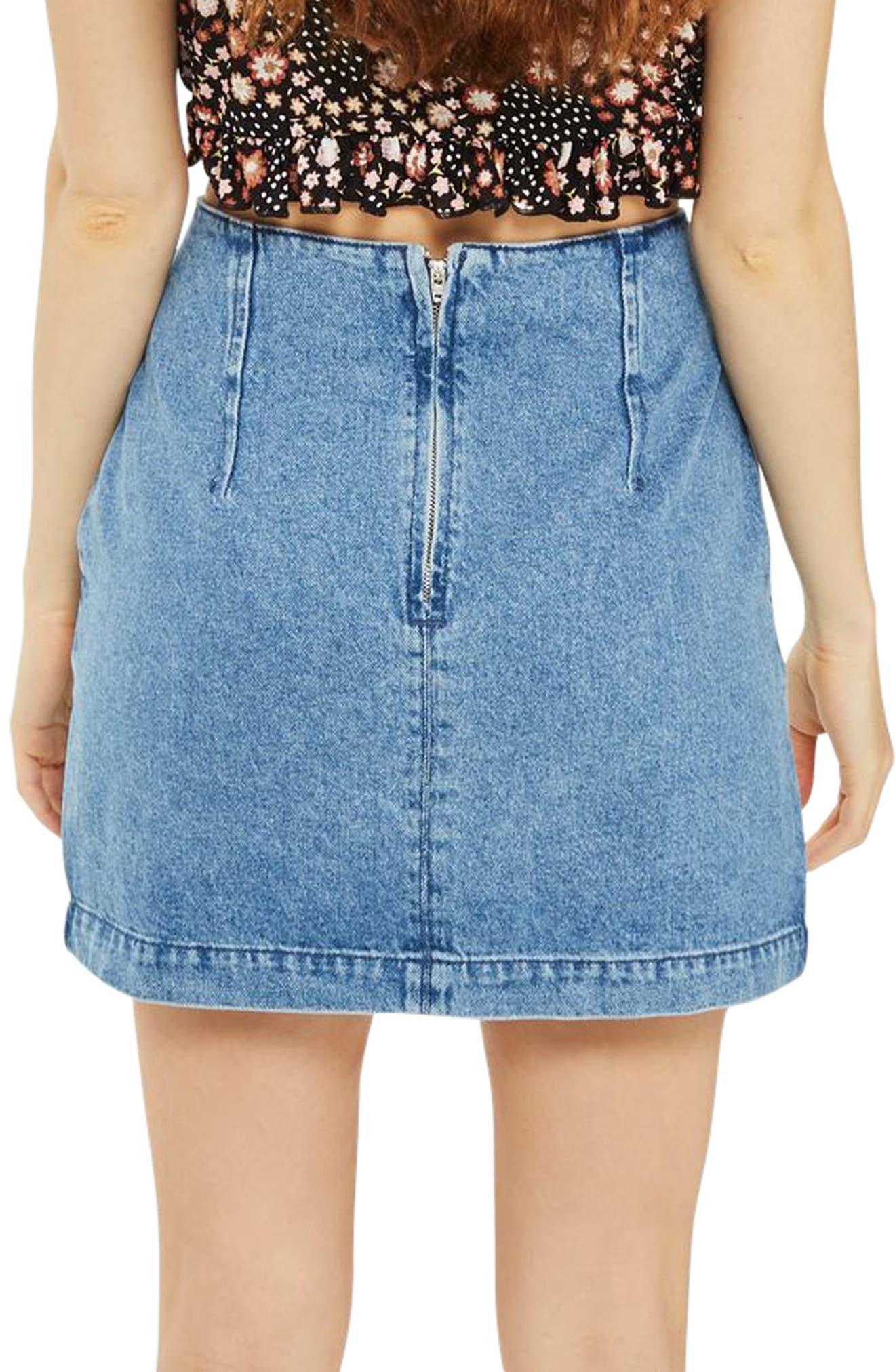 A-Line Denim Miniskirt,                             Alternate thumbnail 2, color,                             400