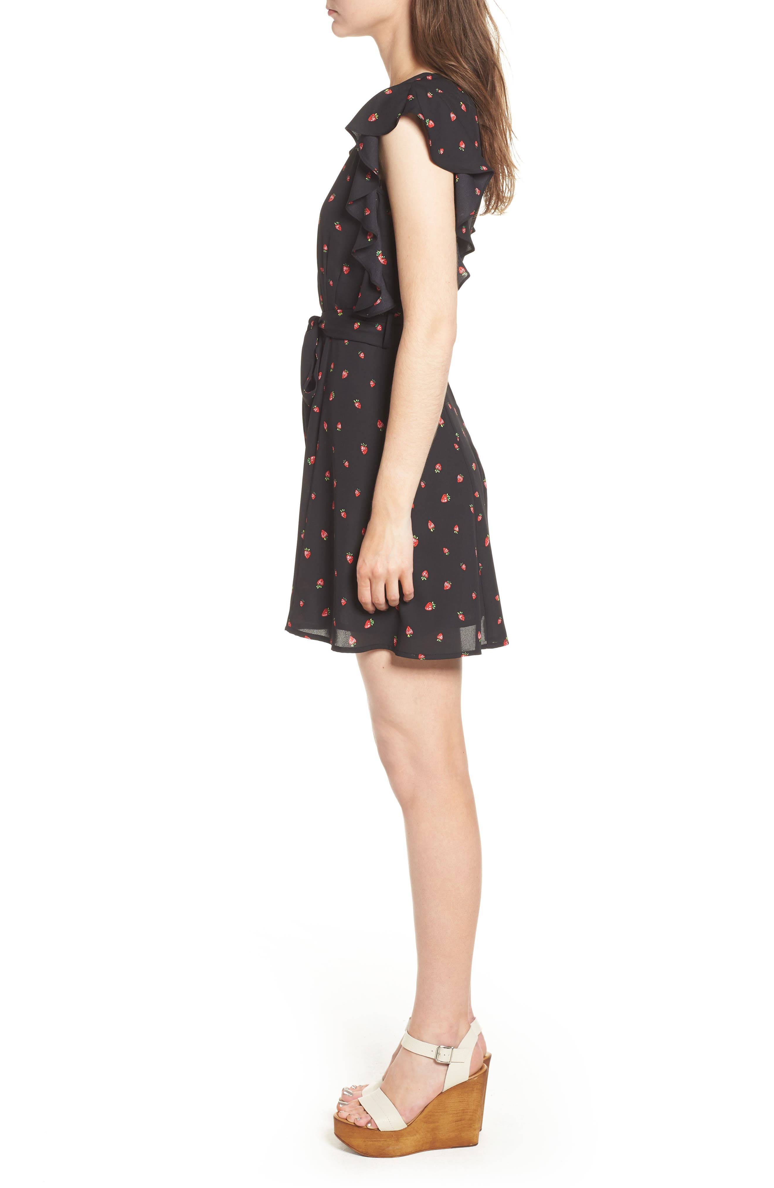 Ruffle Sleeve Dress,                             Alternate thumbnail 3, color,                             001