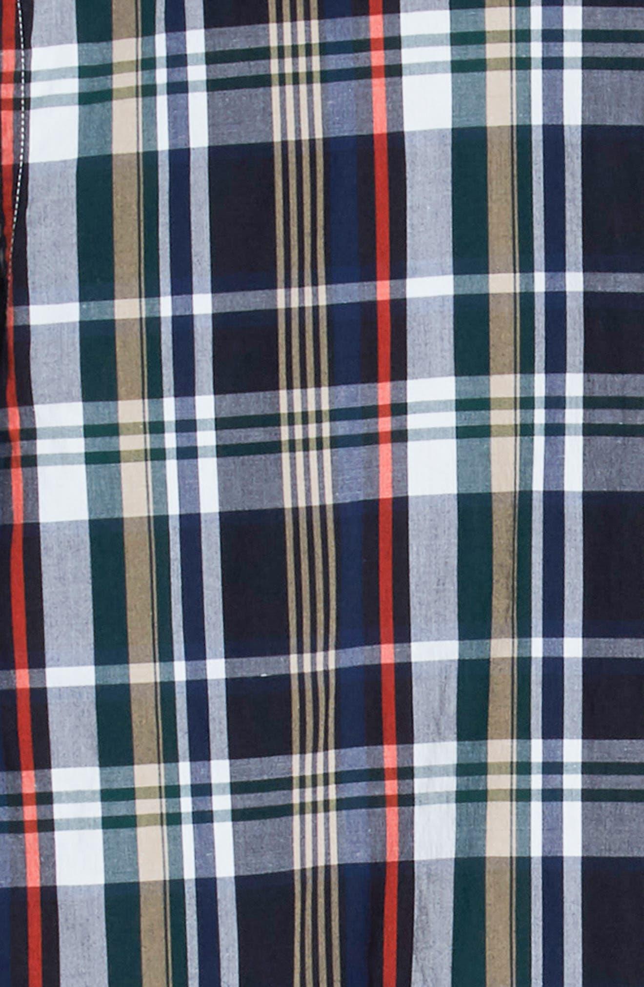 Slim Fit Plaid Sport Shirt,                             Alternate thumbnail 6, color,                             DY5 ACONIT/ MULTICO