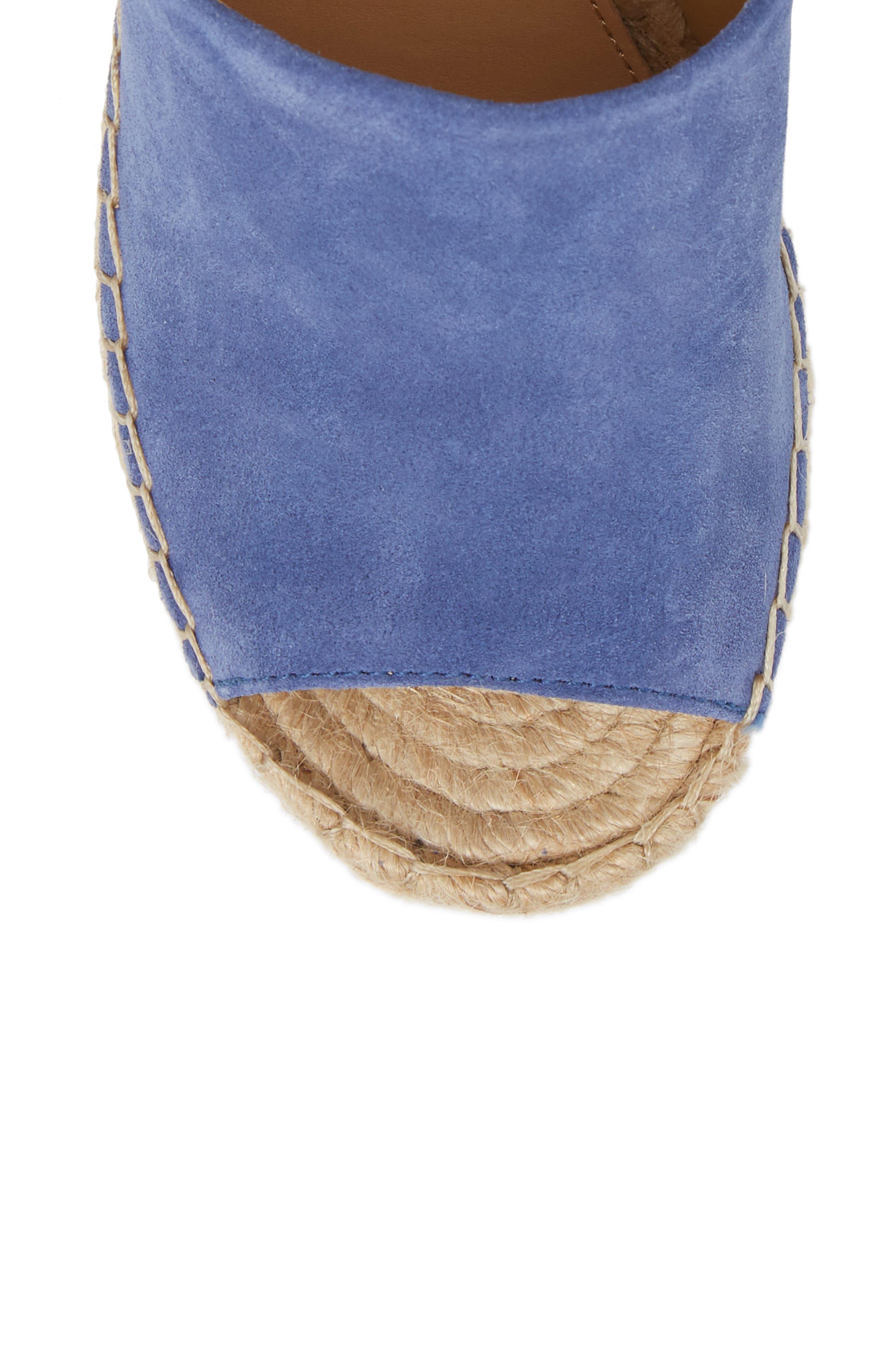 Adalyn Espadrille Wedge Sandal,                             Alternate thumbnail 5, color,                             BLUE SUEDE