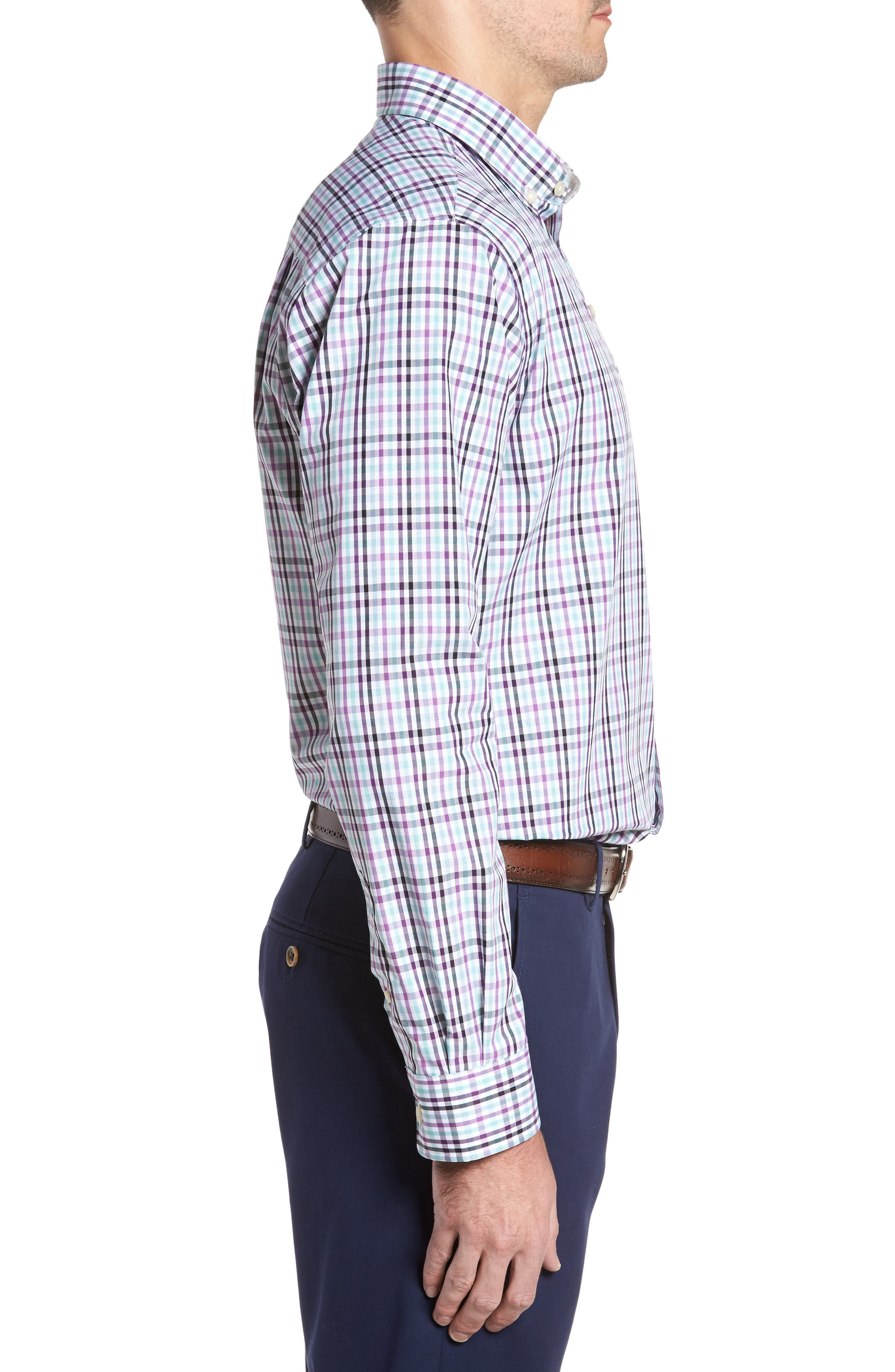 Irving Non-Iron Plaid Sport Shirt,                             Alternate thumbnail 3, color,                             522