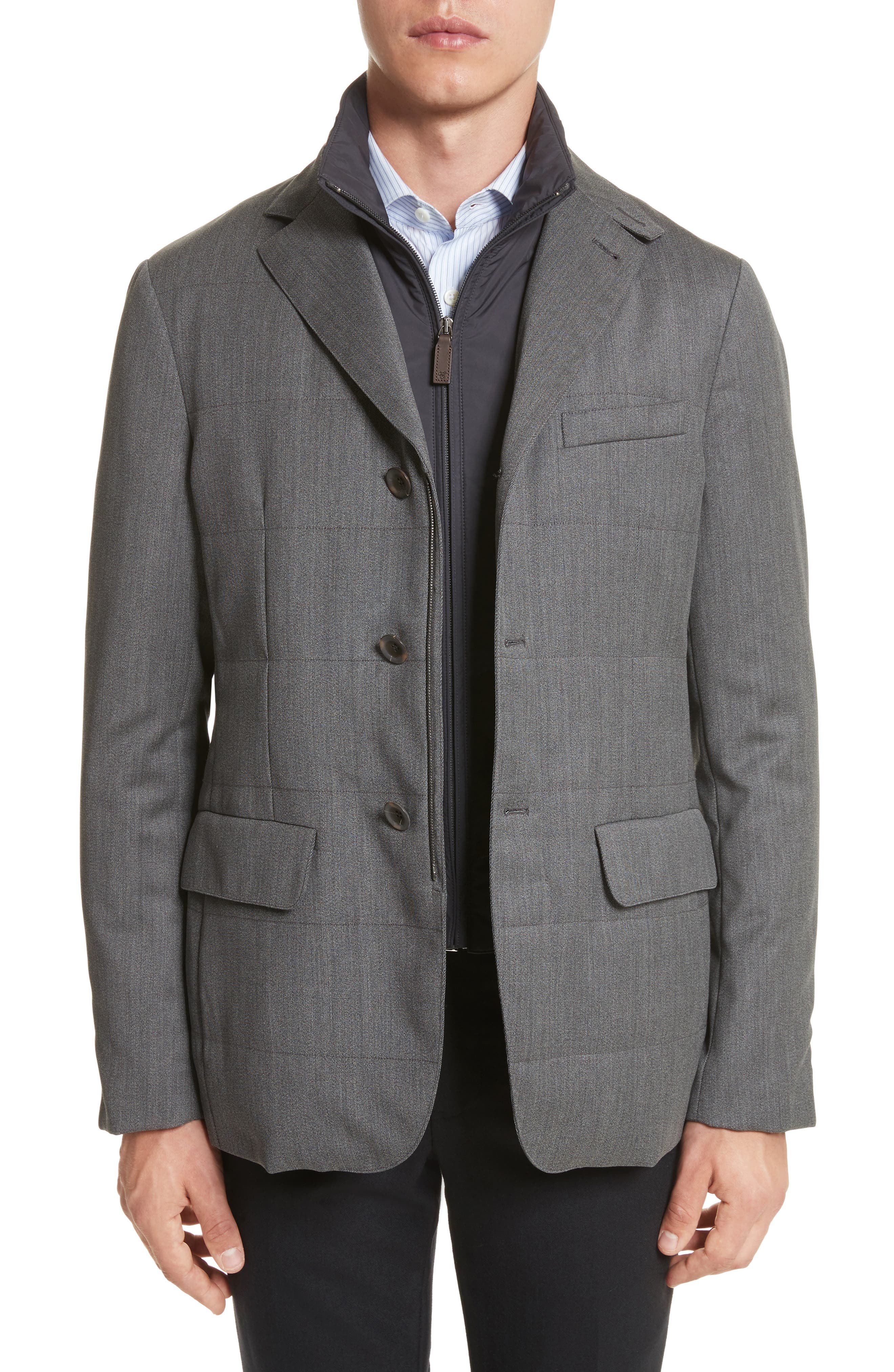 Water-Resistant Wool Jacket with Bib,                             Main thumbnail 1, color,                             050