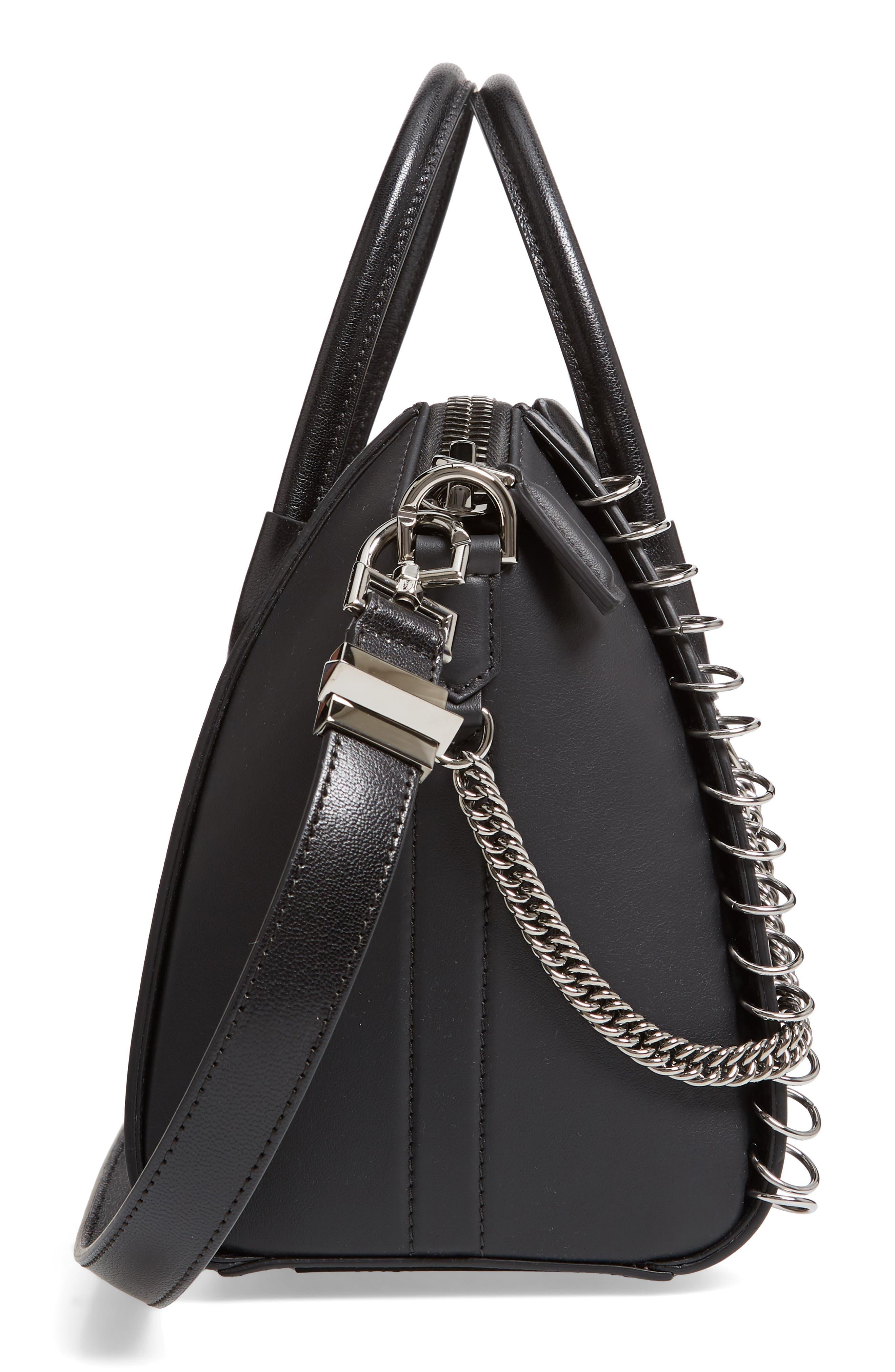 Small Antigona Leather Satchel,                             Alternate thumbnail 6, color,                             BLACK