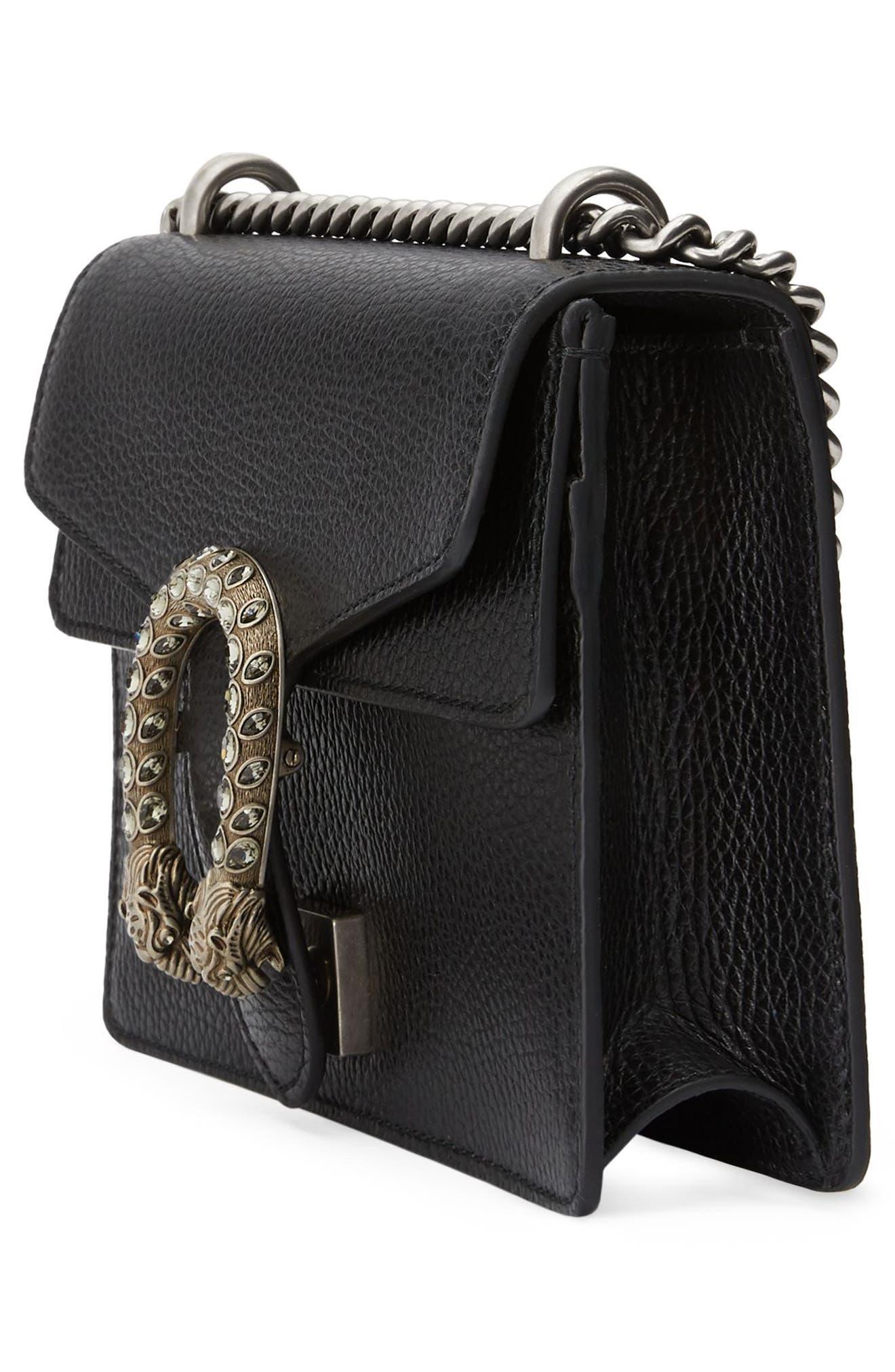 Mini Dionysus Leather Shoulder Bag,                             Alternate thumbnail 5, color,                             NERO/ BLACK DIAMOND
