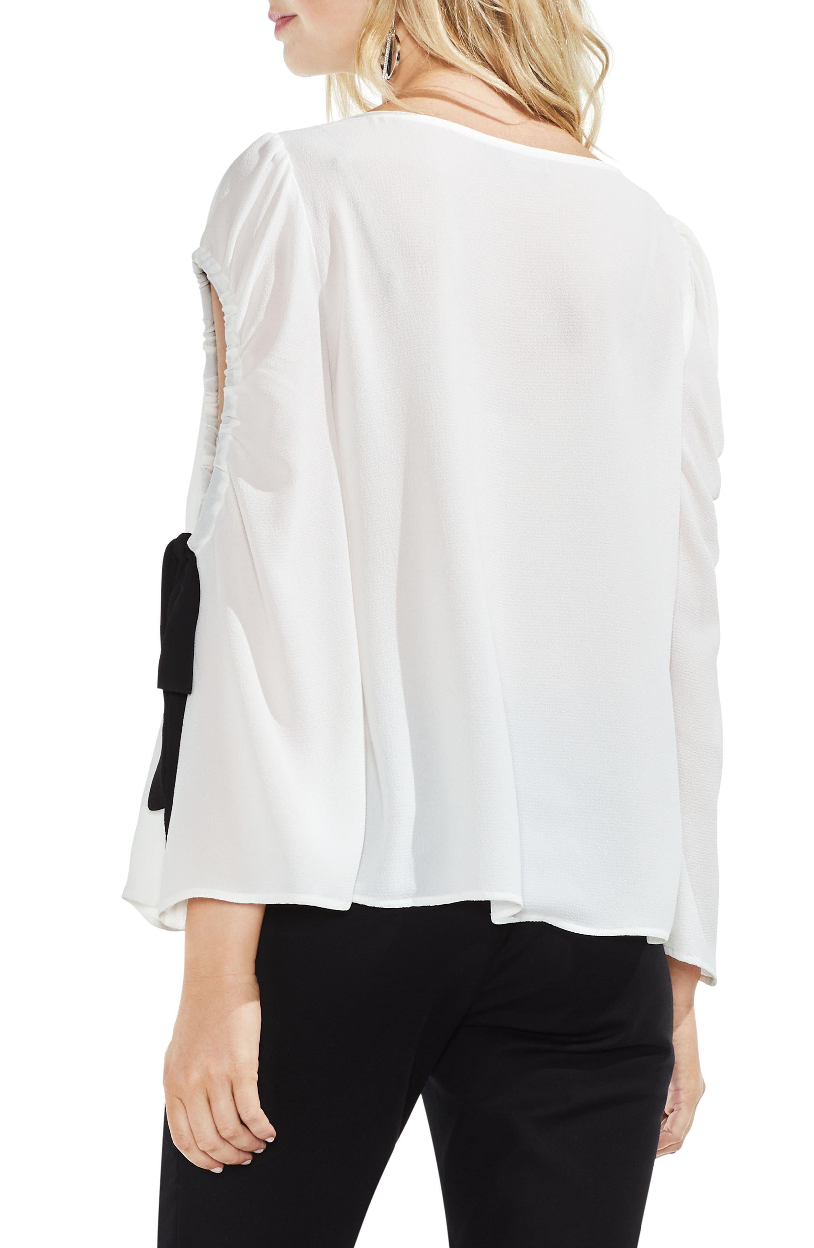 Bell Sleeve Contrast Tie Cold Shoulder Top,                             Alternate thumbnail 6, color,