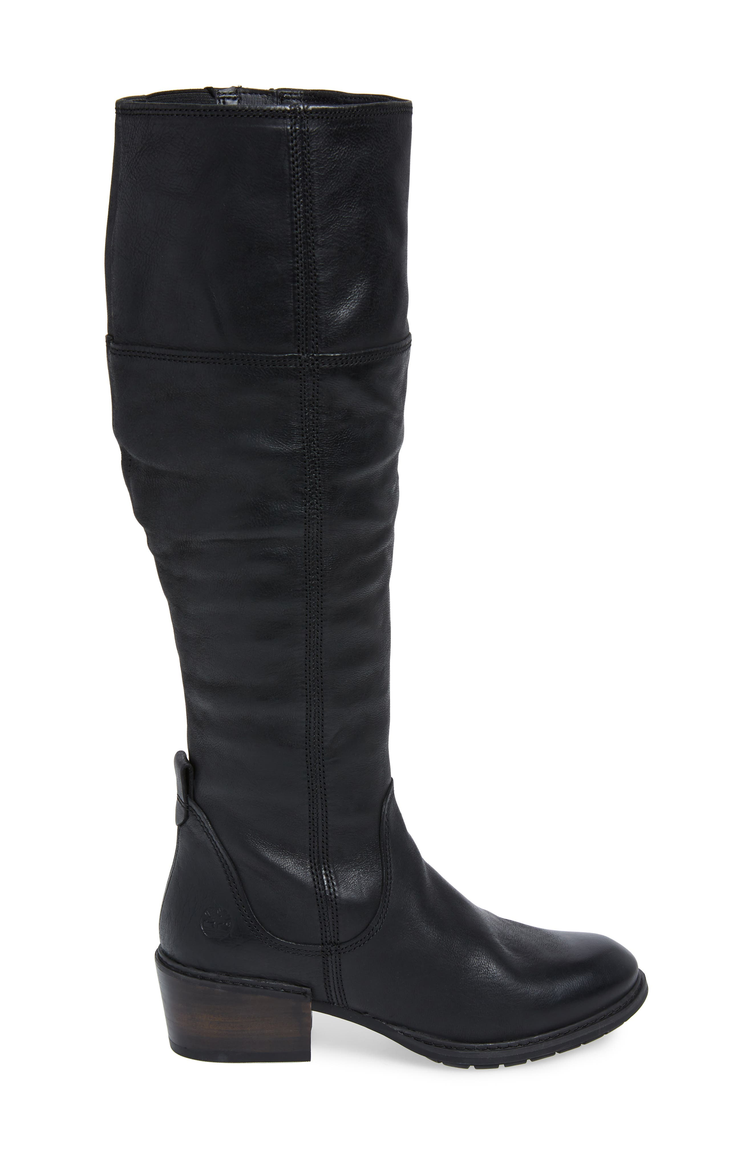Sutherlin Bay Slouch Knee High Boot,                             Alternate thumbnail 3, color,                             JET BLACK LEATHER