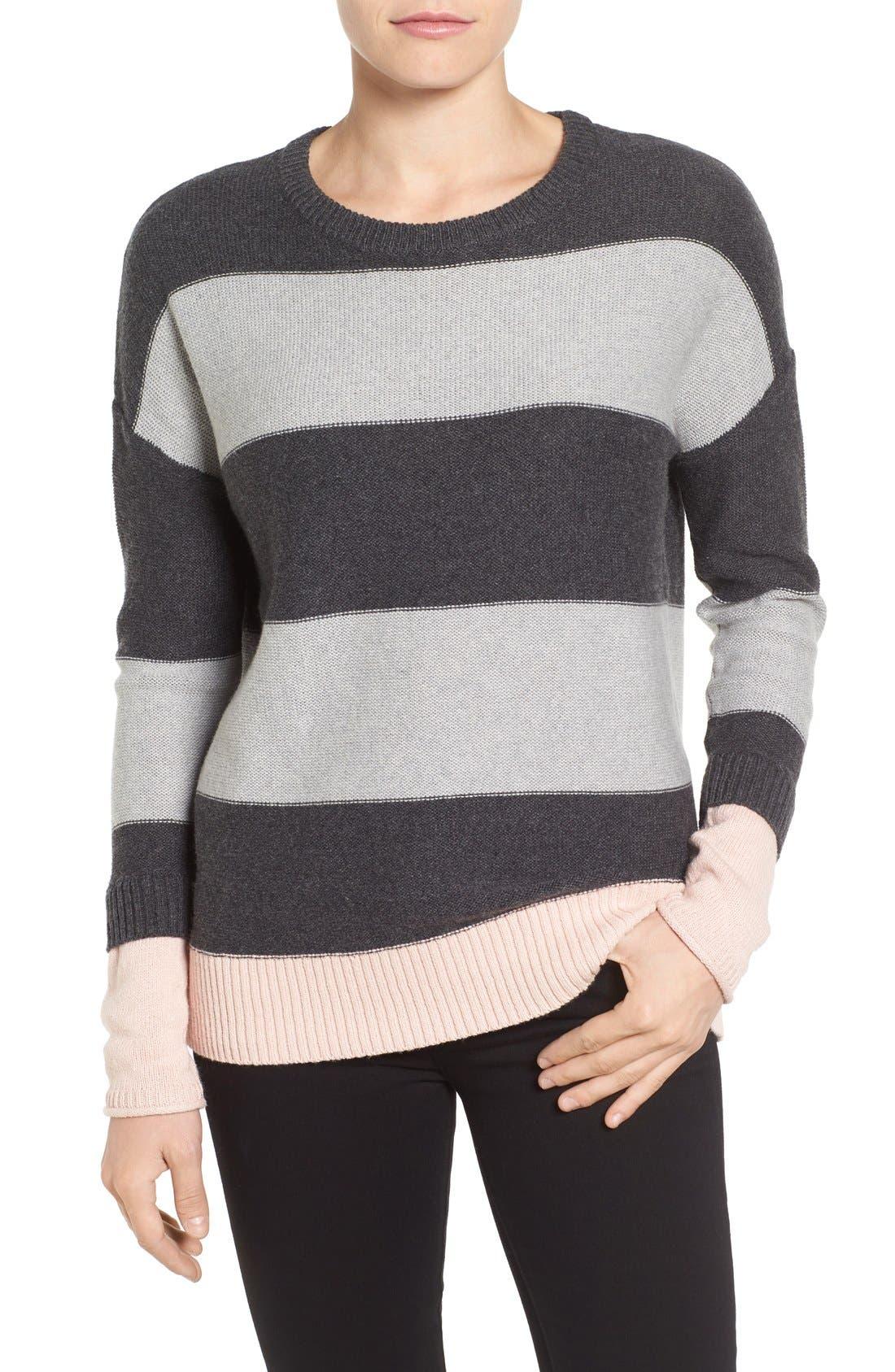 Contrast Cuff Crewneck Sweater,                             Main thumbnail 4, color,