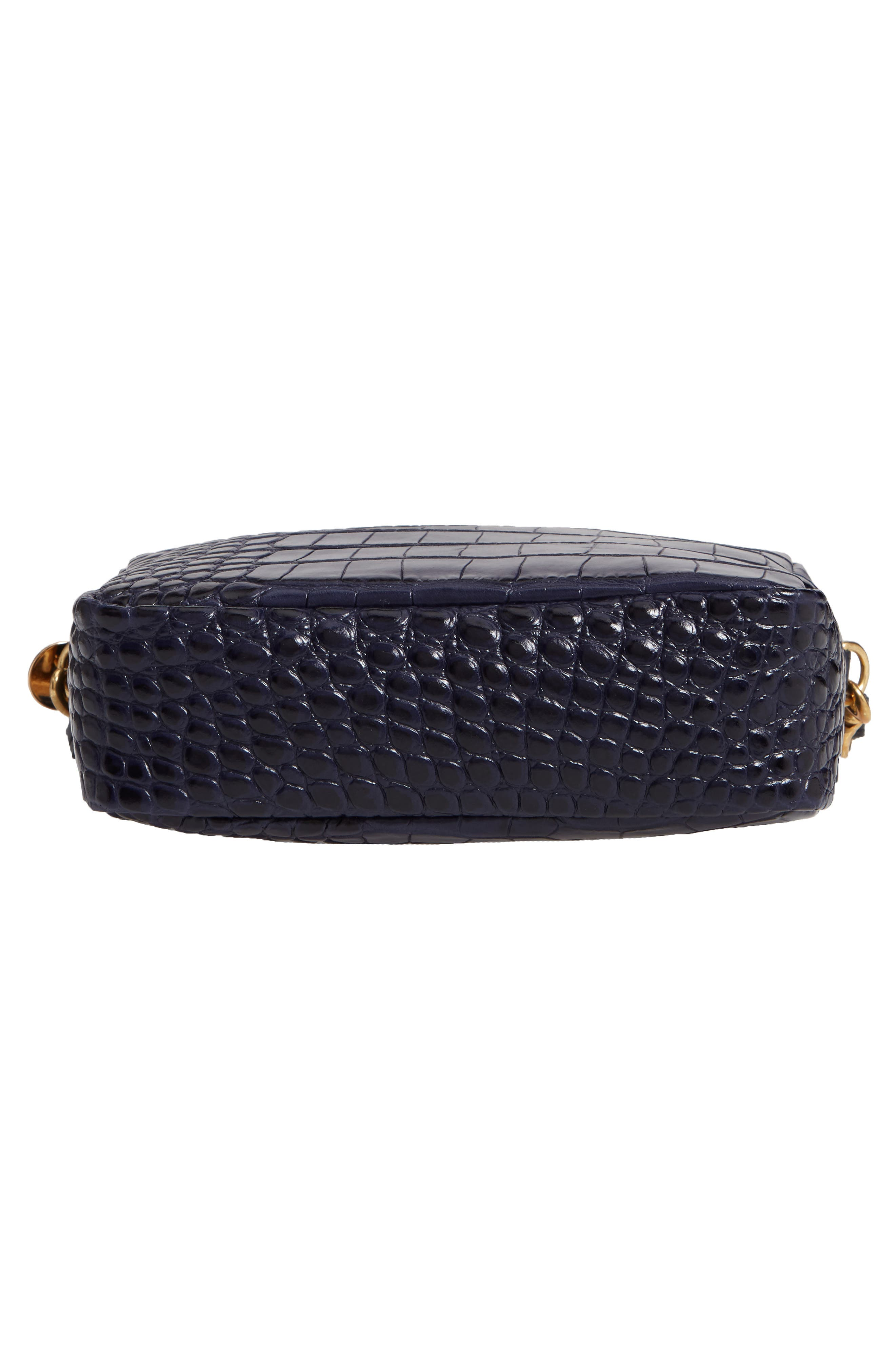 Midi Sac Croc Embossed Leather Crossbody Bag,                             Alternate thumbnail 6, color,                             MIDNIGHT CROCO