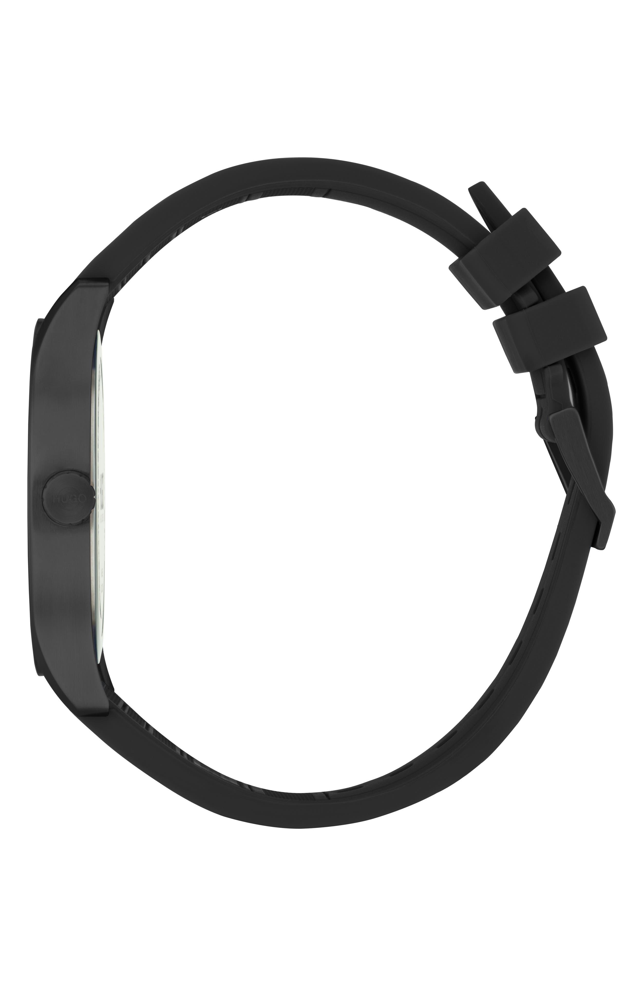 Silicone Strap Watch, 42mm,                             Alternate thumbnail 3, color,                             KHAKI