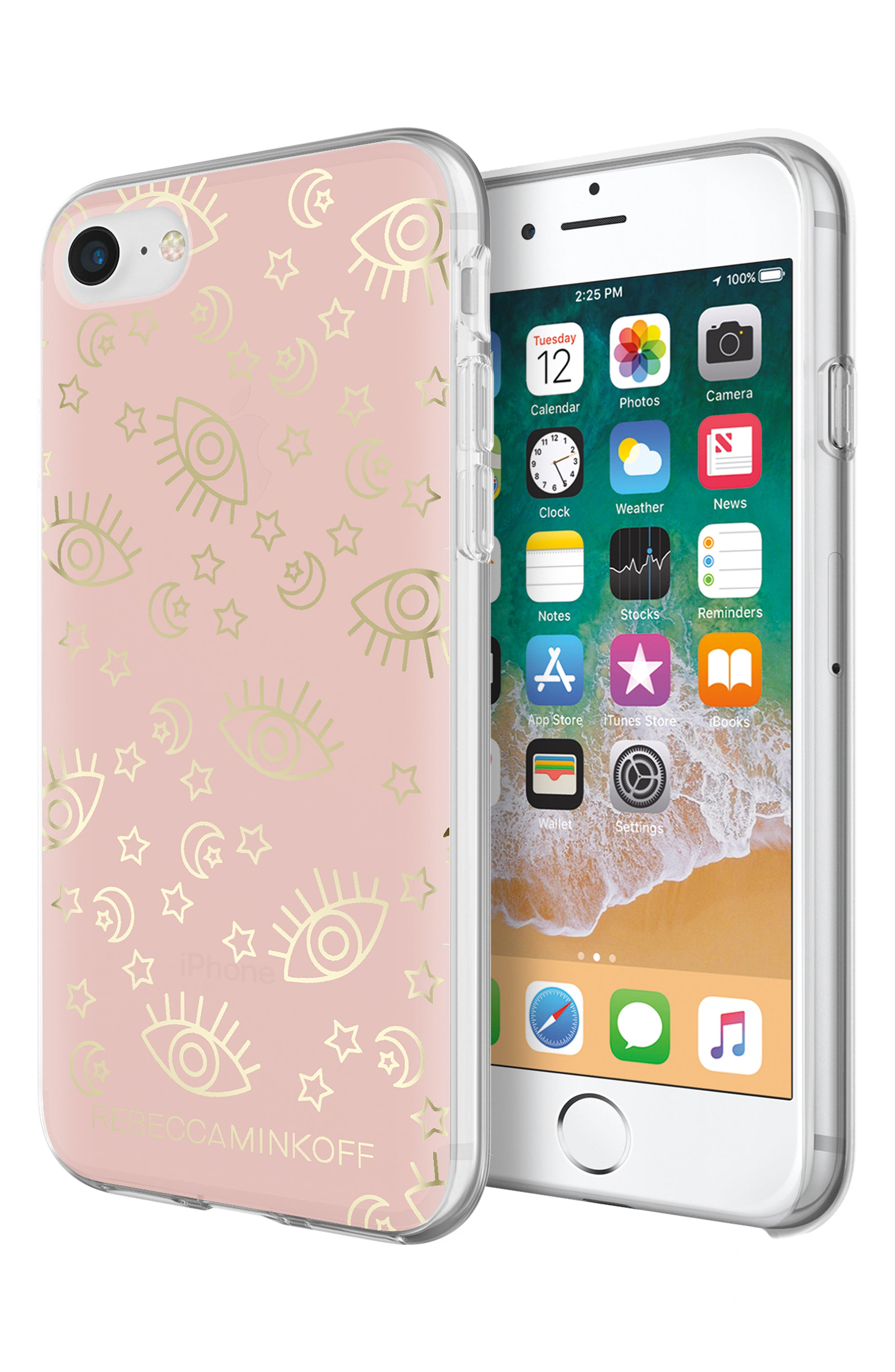 Metallic Galaxy Icon iPhone 7/8 & 7/8 Plus Case,                             Alternate thumbnail 8, color,                             ROSE GOLD/ GOLD FOIL