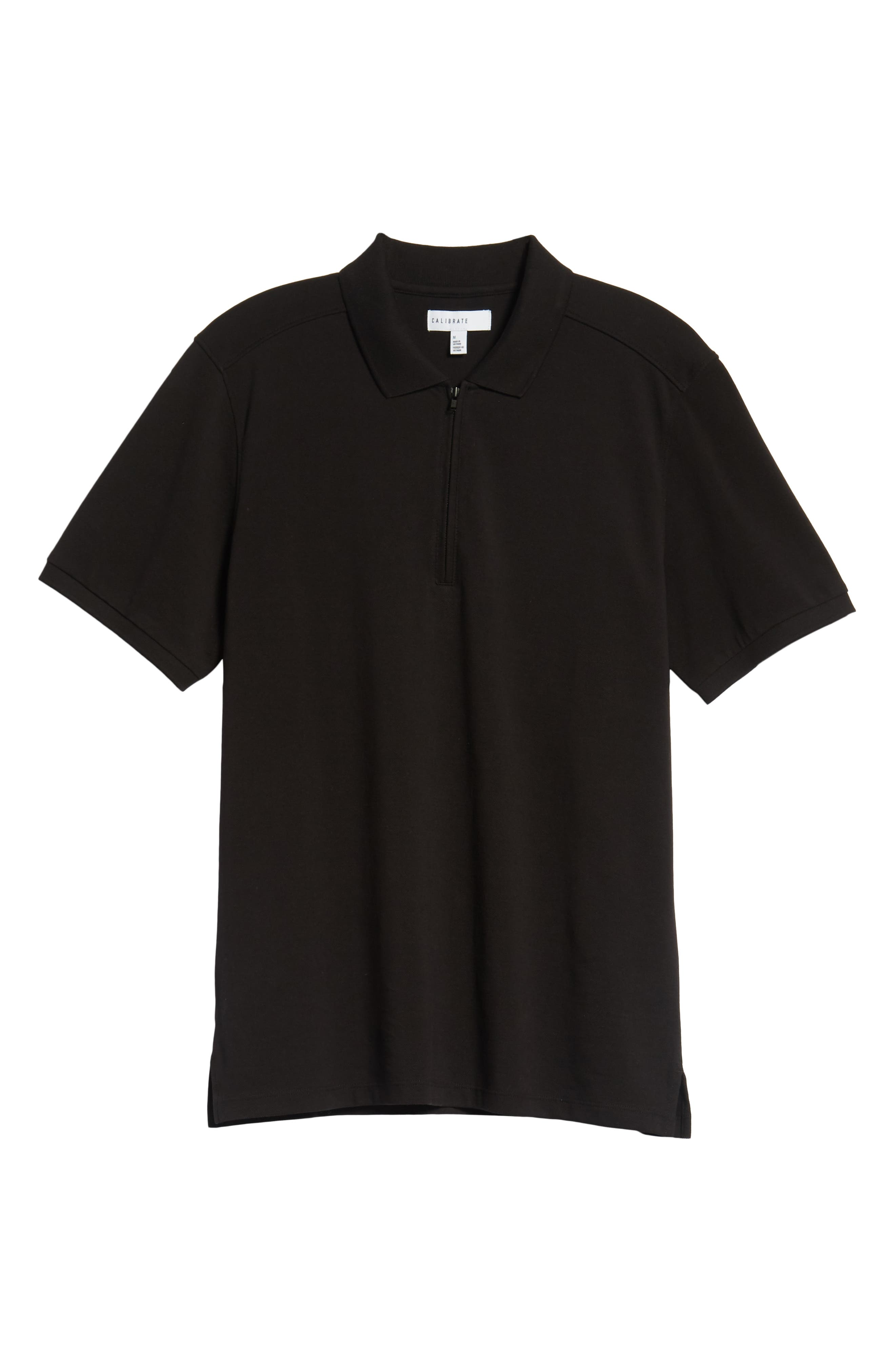 Trim Fit Zip Polo,                             Alternate thumbnail 6, color,                             001