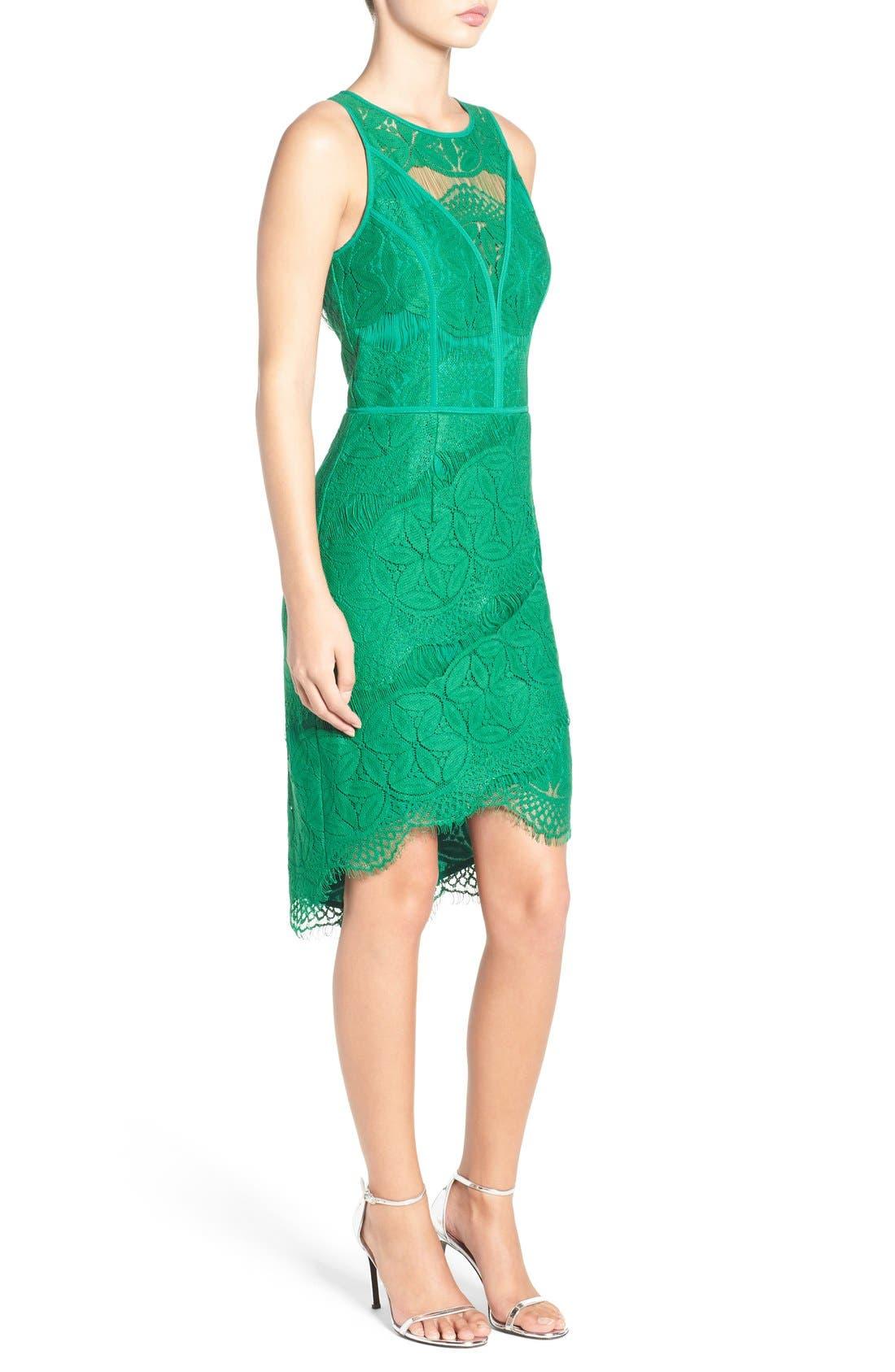 Lace High/Low Sheath Dress,                             Alternate thumbnail 13, color,