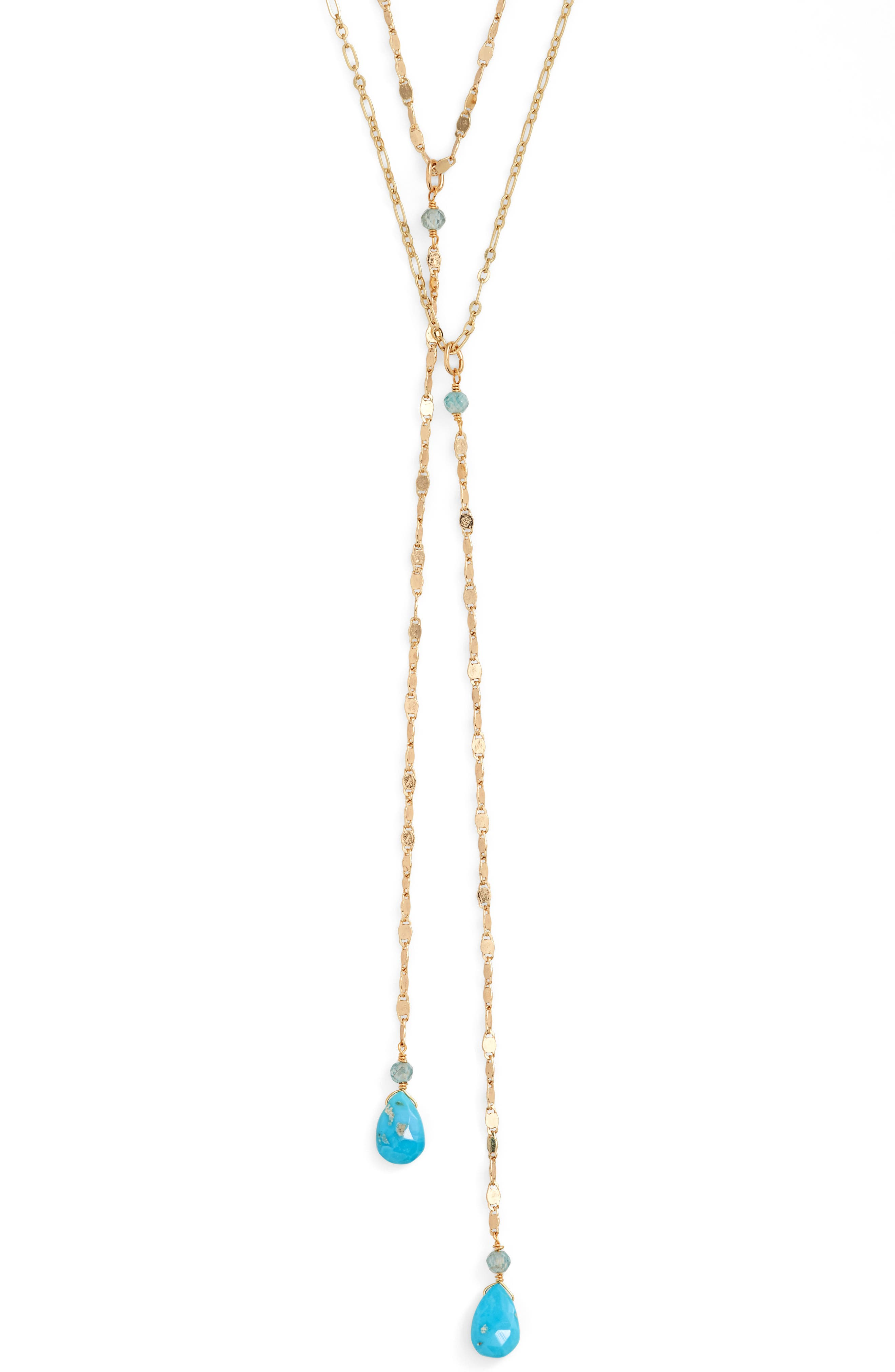 Layered Lariat Necklace,                             Alternate thumbnail 2, color,                             GOLD/ TURQUOISE
