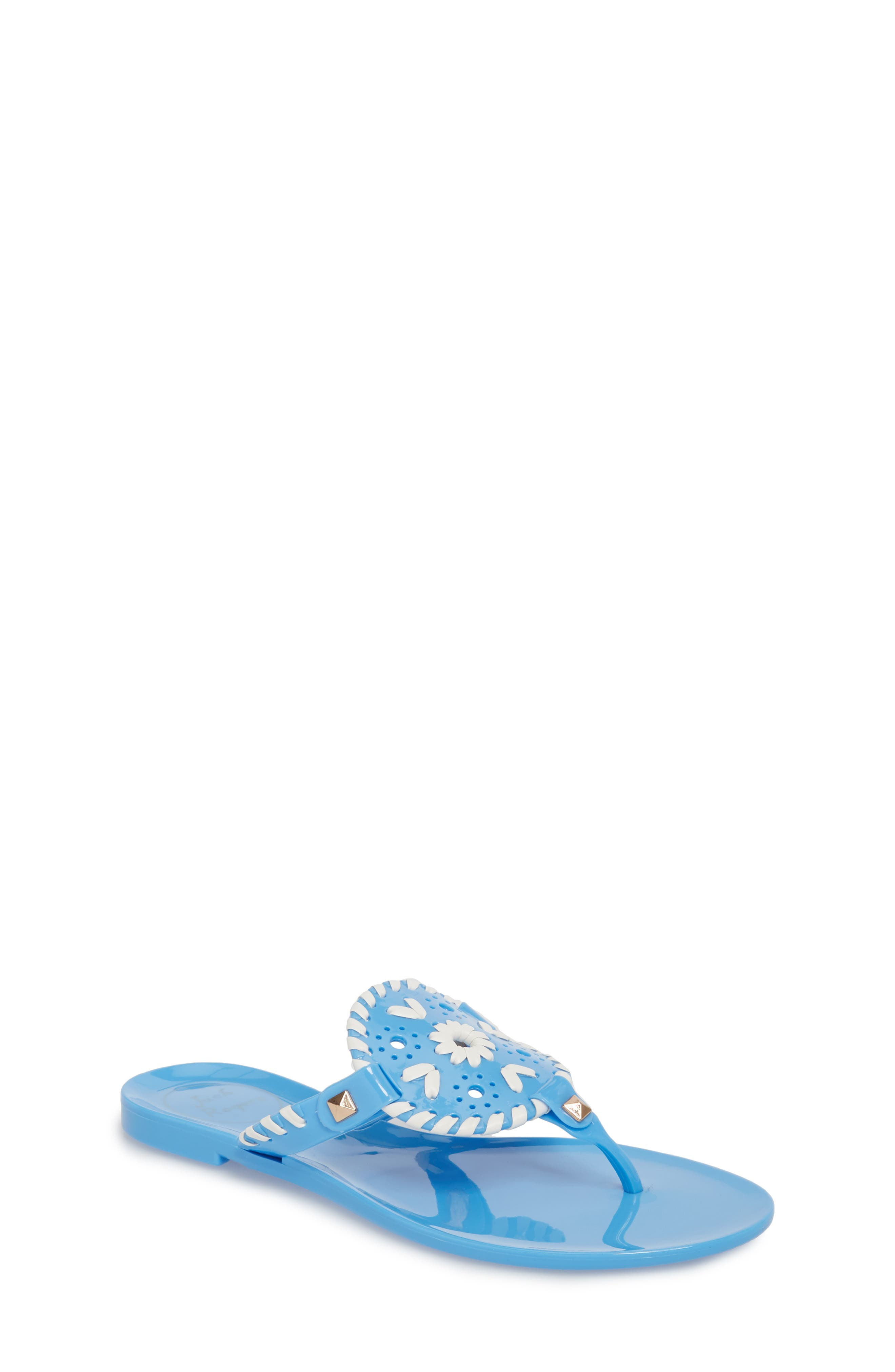 'Miss Georgica' Jelly Flip Flop,                             Main thumbnail 1, color,                             FRENCH BLUE/ WHITE JELLY