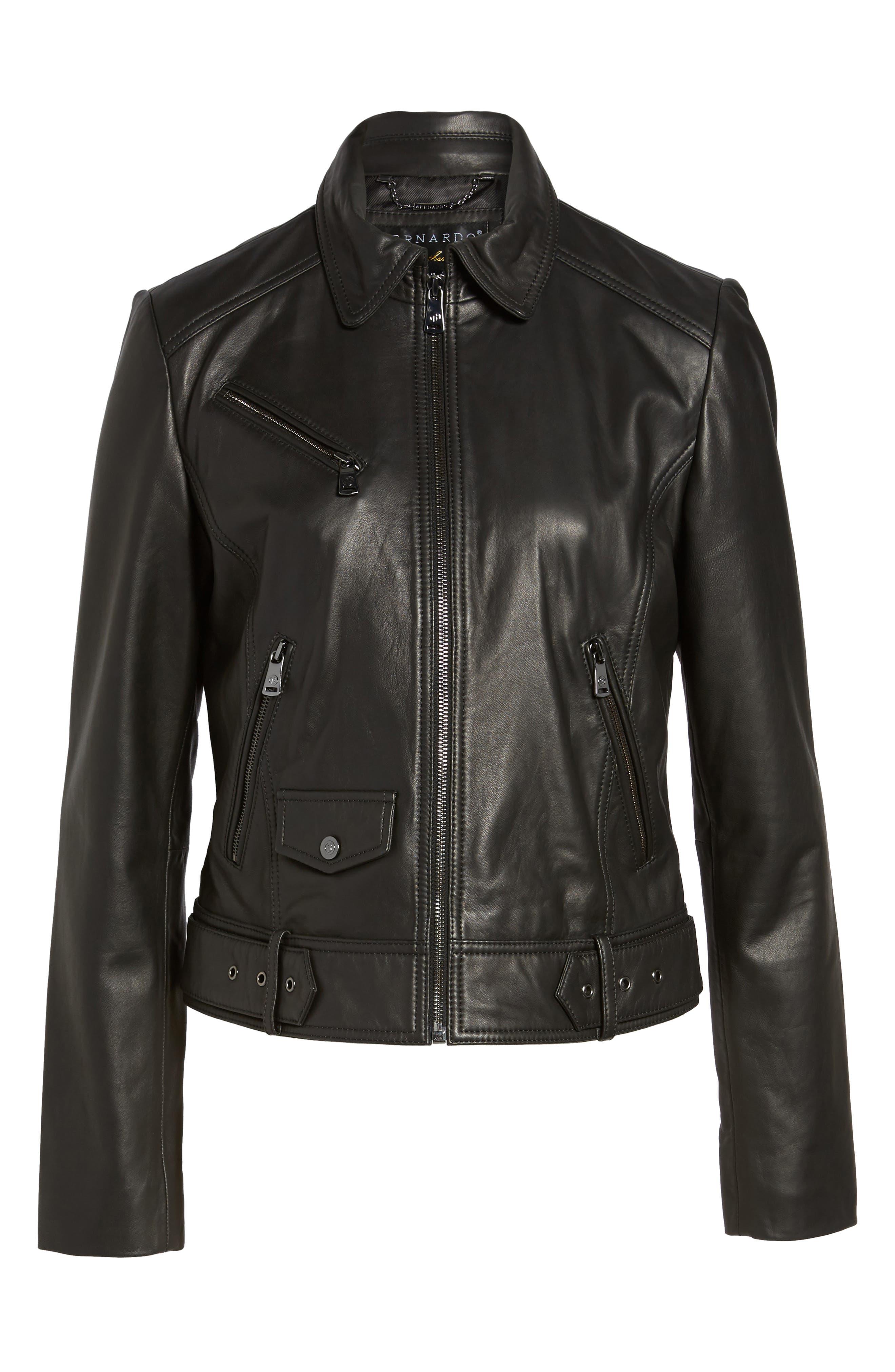 Front Zip Leather Moto Jacket,                             Alternate thumbnail 5, color,                             001