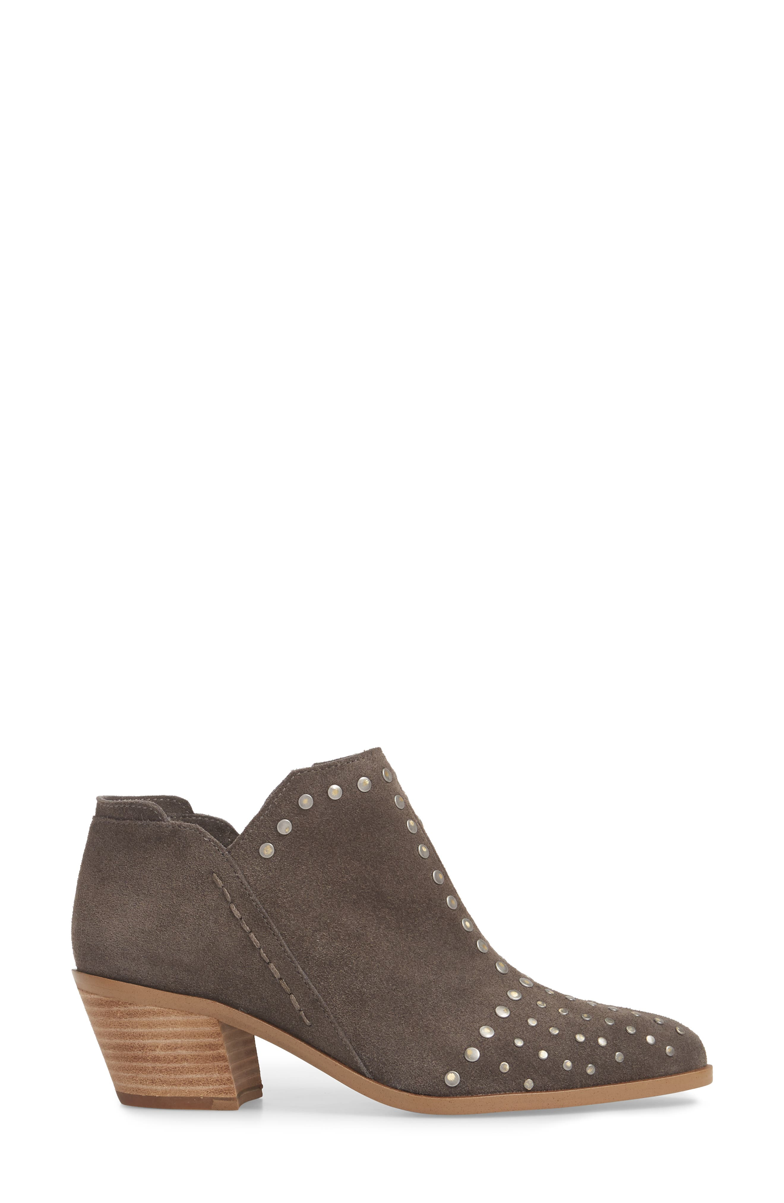 Loka Studded Bootie,                             Alternate thumbnail 3, color,                             CHARCOAL SUEDE