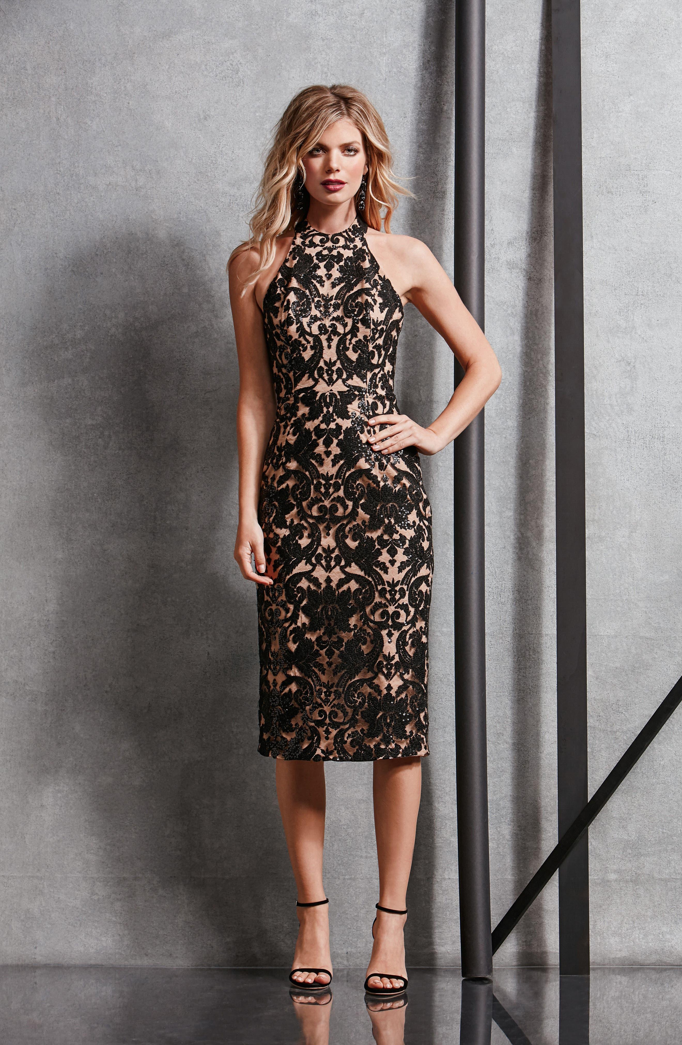 Cassie Sequin Midi Dress,                             Alternate thumbnail 5, color,                             002