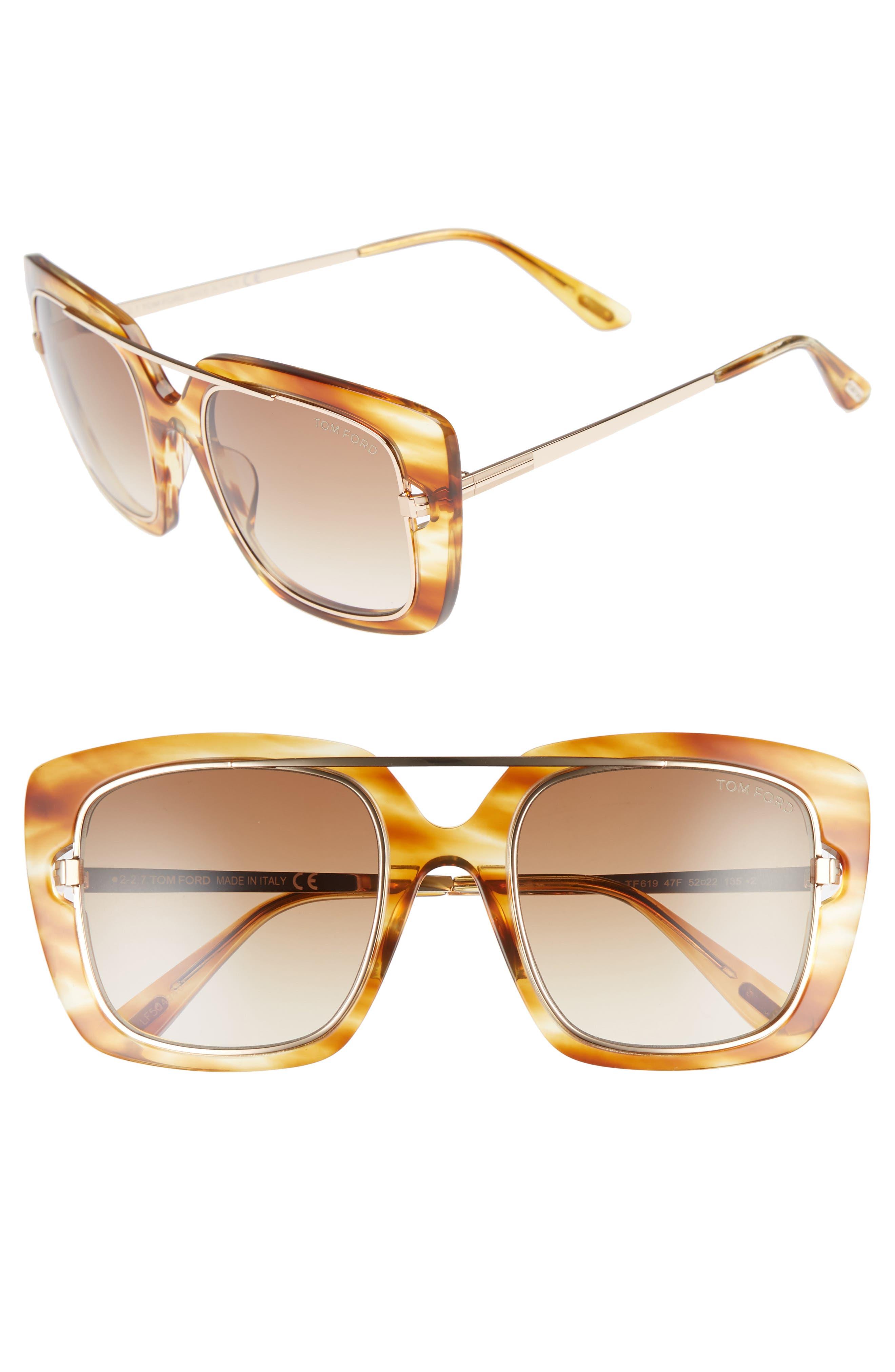 Marissa 52mm Sunglasses,                             Main thumbnail 1, color,                             LIGHT BROWN/ GRADIENT BROWN