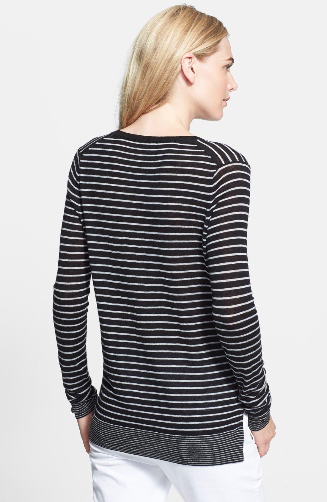 Mini Stripe Sweater,                             Alternate thumbnail 2, color,                             001