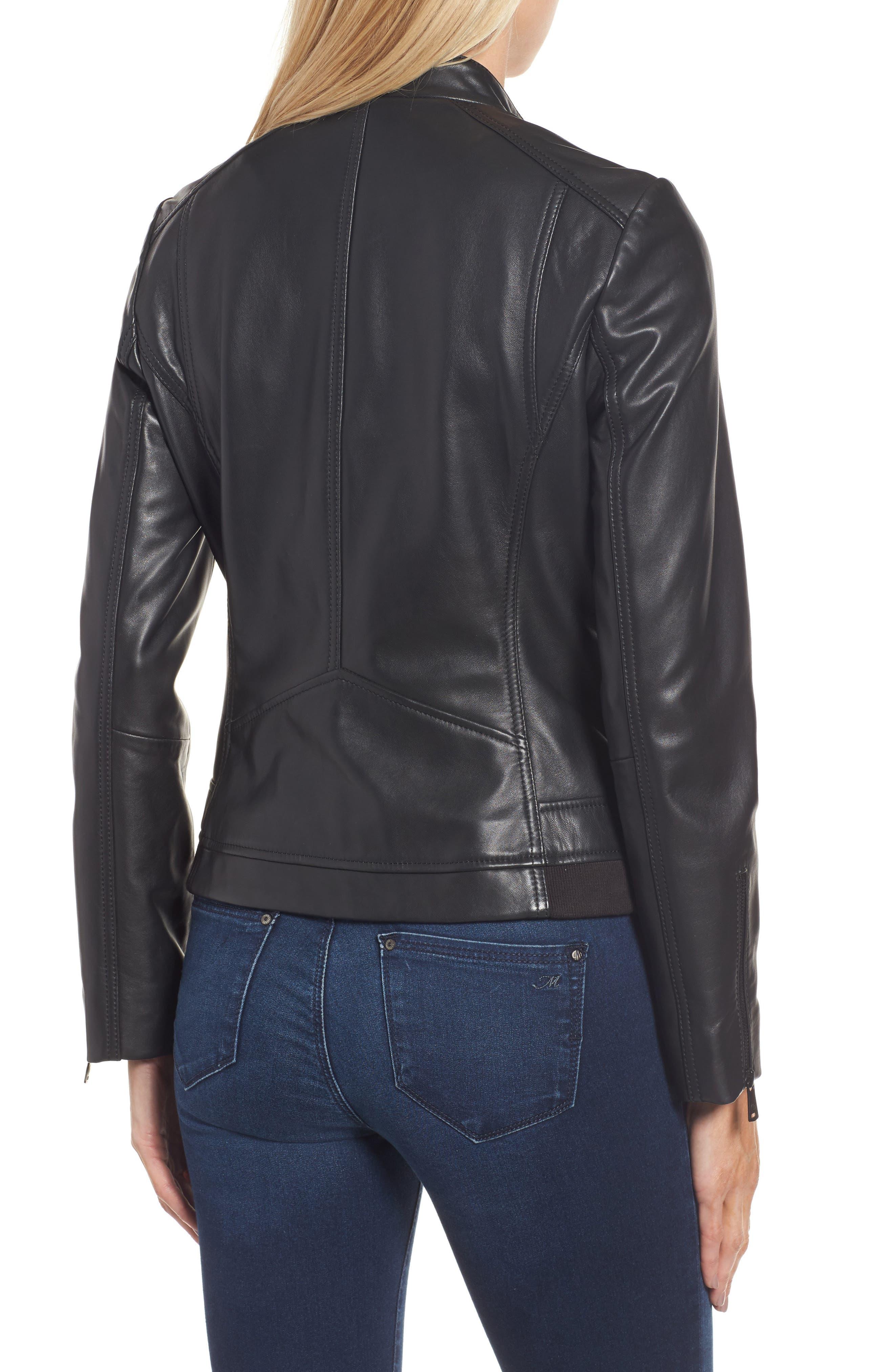 Jetta Knit Detail Leather Scuba Jacket,                             Alternate thumbnail 2, color,                             001