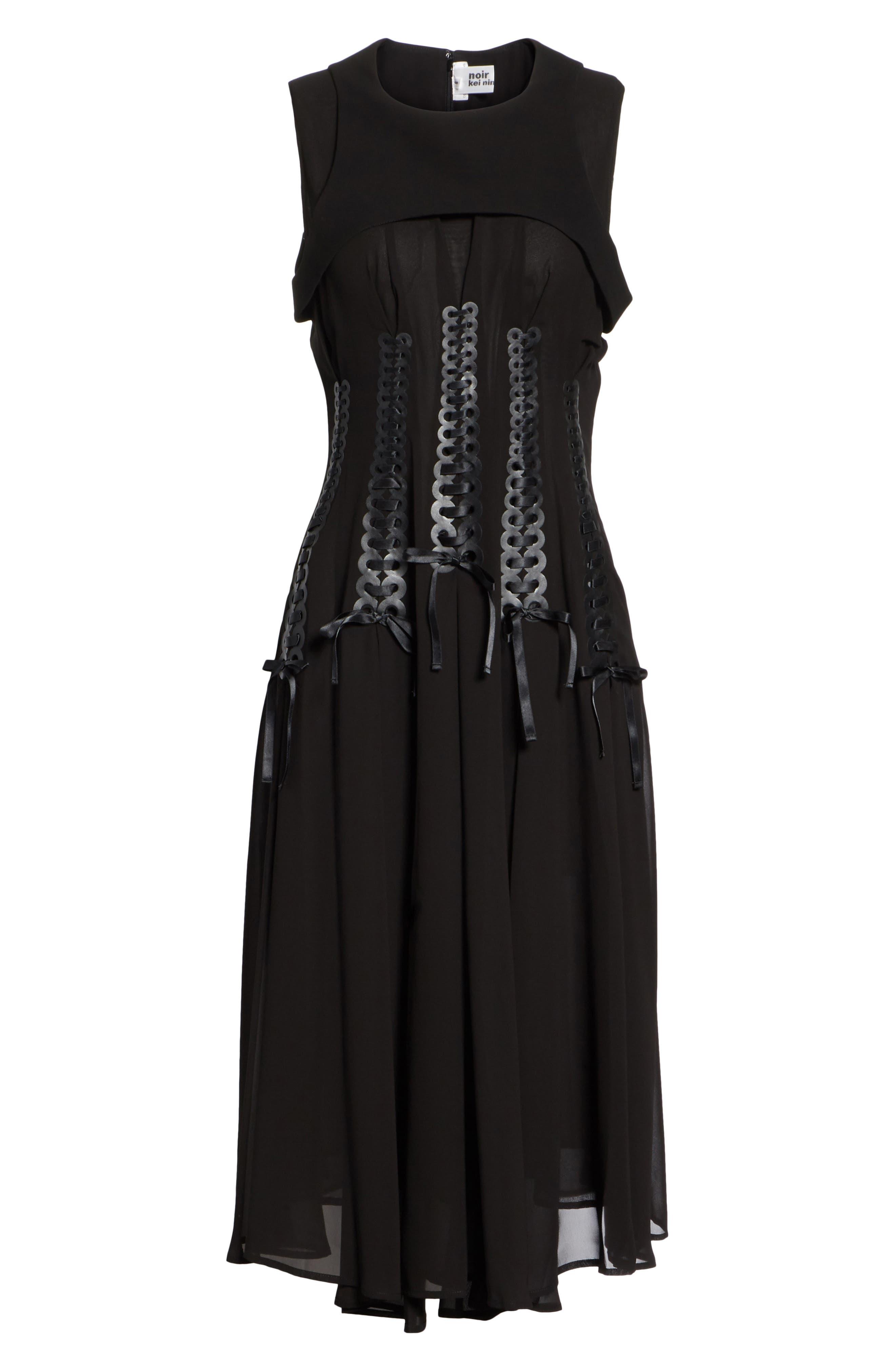 Ribbon Bodice Dress,                             Alternate thumbnail 6, color,                             001