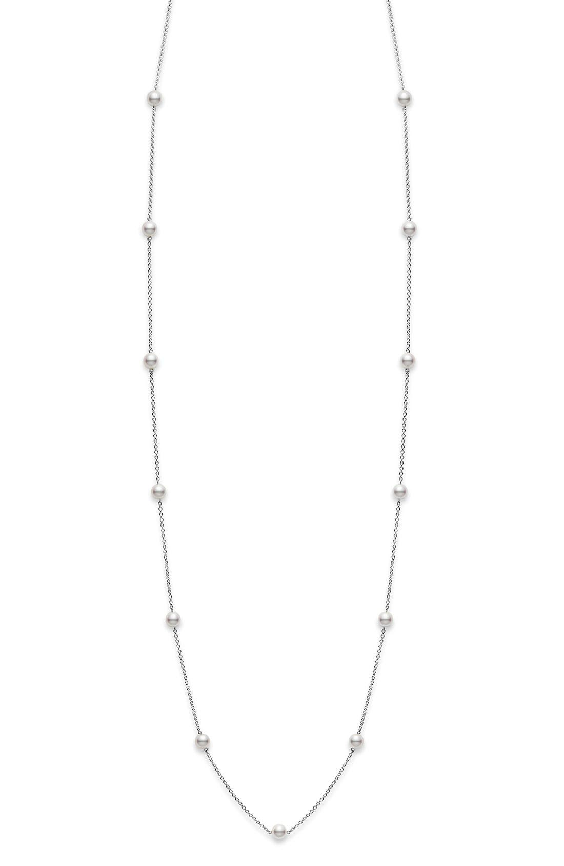 Akoya Pearl Station Necklace,                         Main,                         color, WHITE GOLD