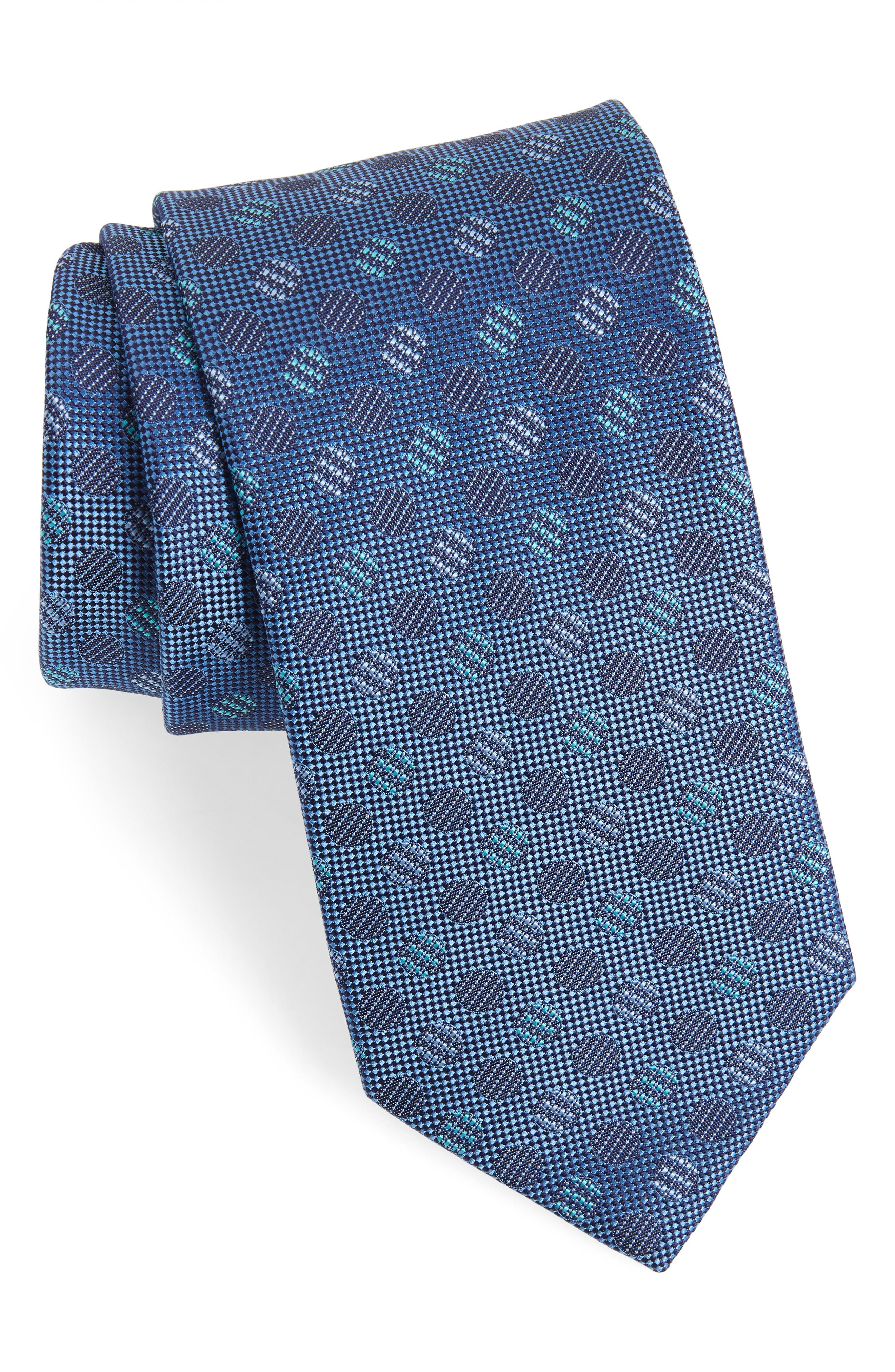 Geometric Silk Tie,                         Main,                         color, NAVY