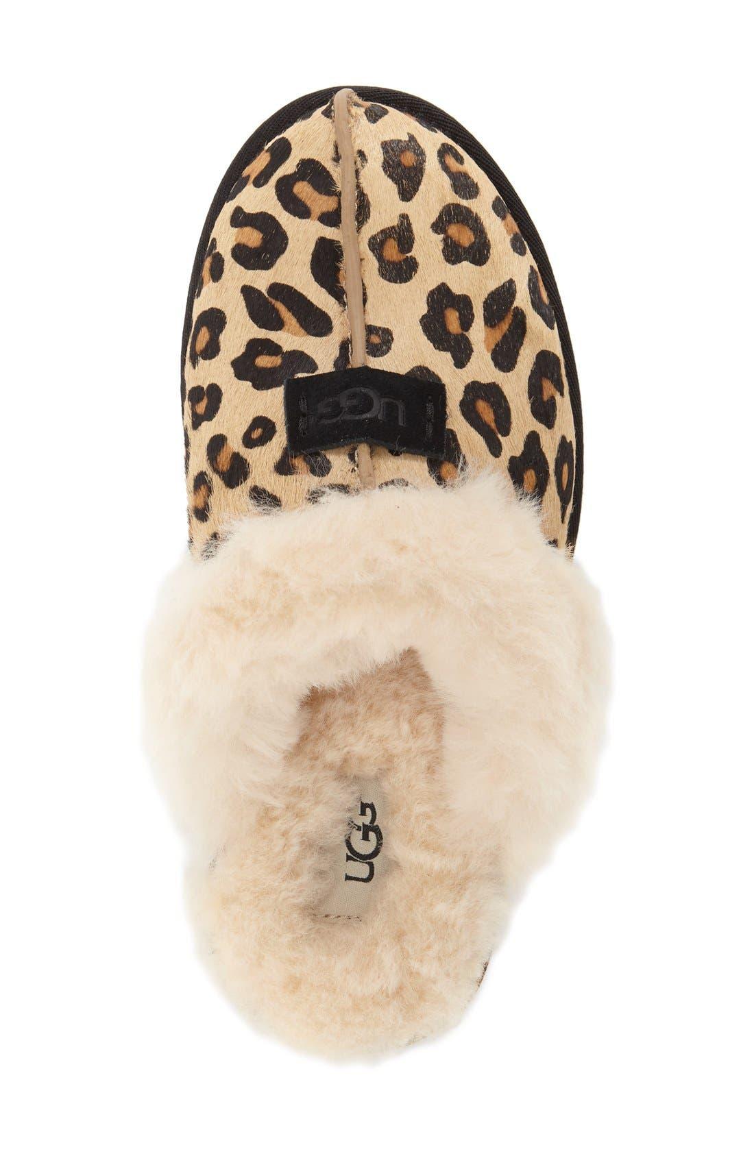 Scuffette II Leopard Spot Calf Hair Genuine Shearling Cuff Slipper,                             Alternate thumbnail 3, color,