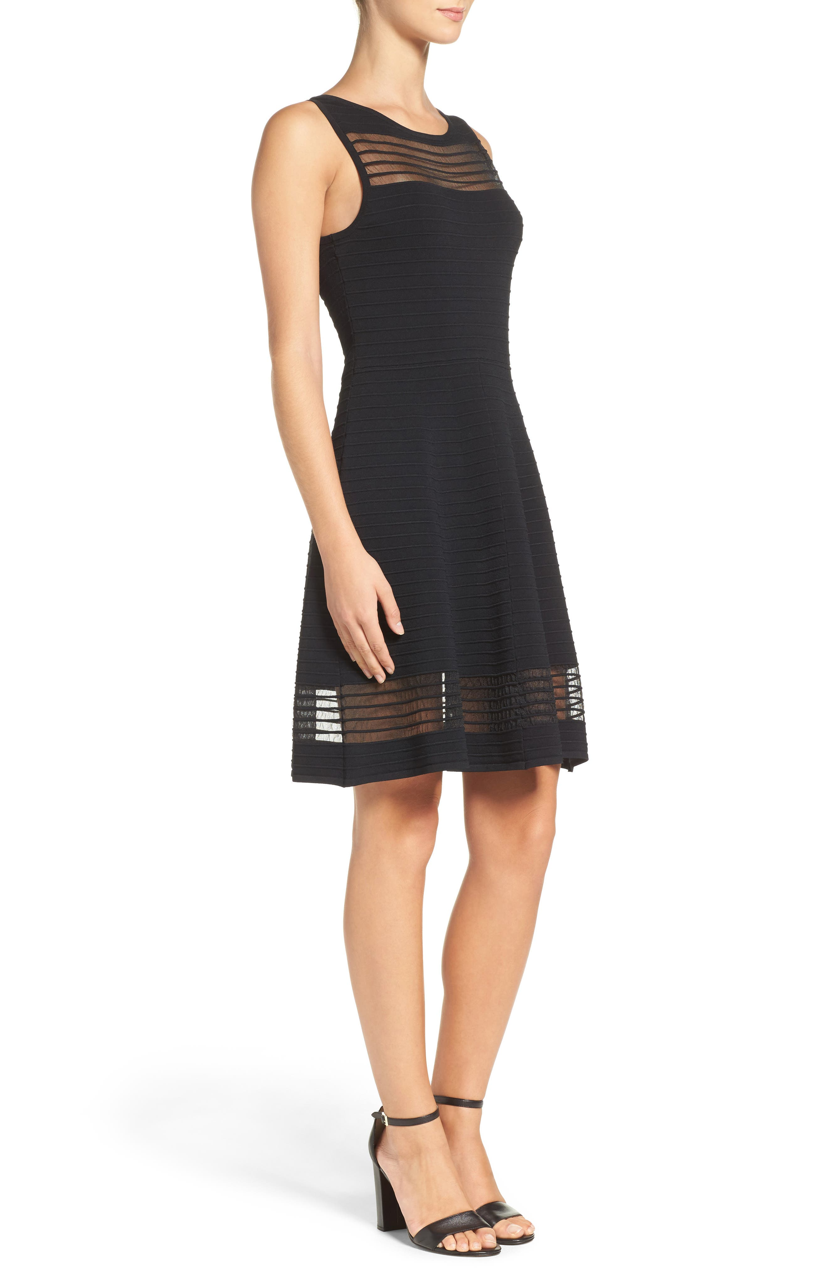 Tobey Fit & Flare Sweater Dress,                             Alternate thumbnail 3, color,                             BLACK