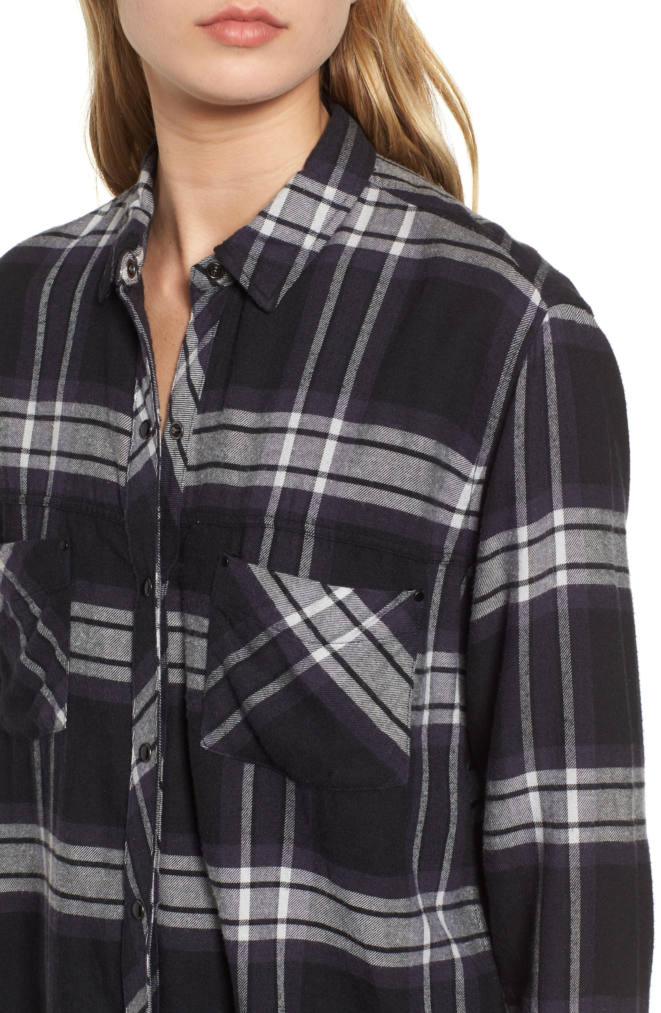 Leo Plaid Woven Shirt,                             Alternate thumbnail 4, color,                             BLACK ASH WHITE