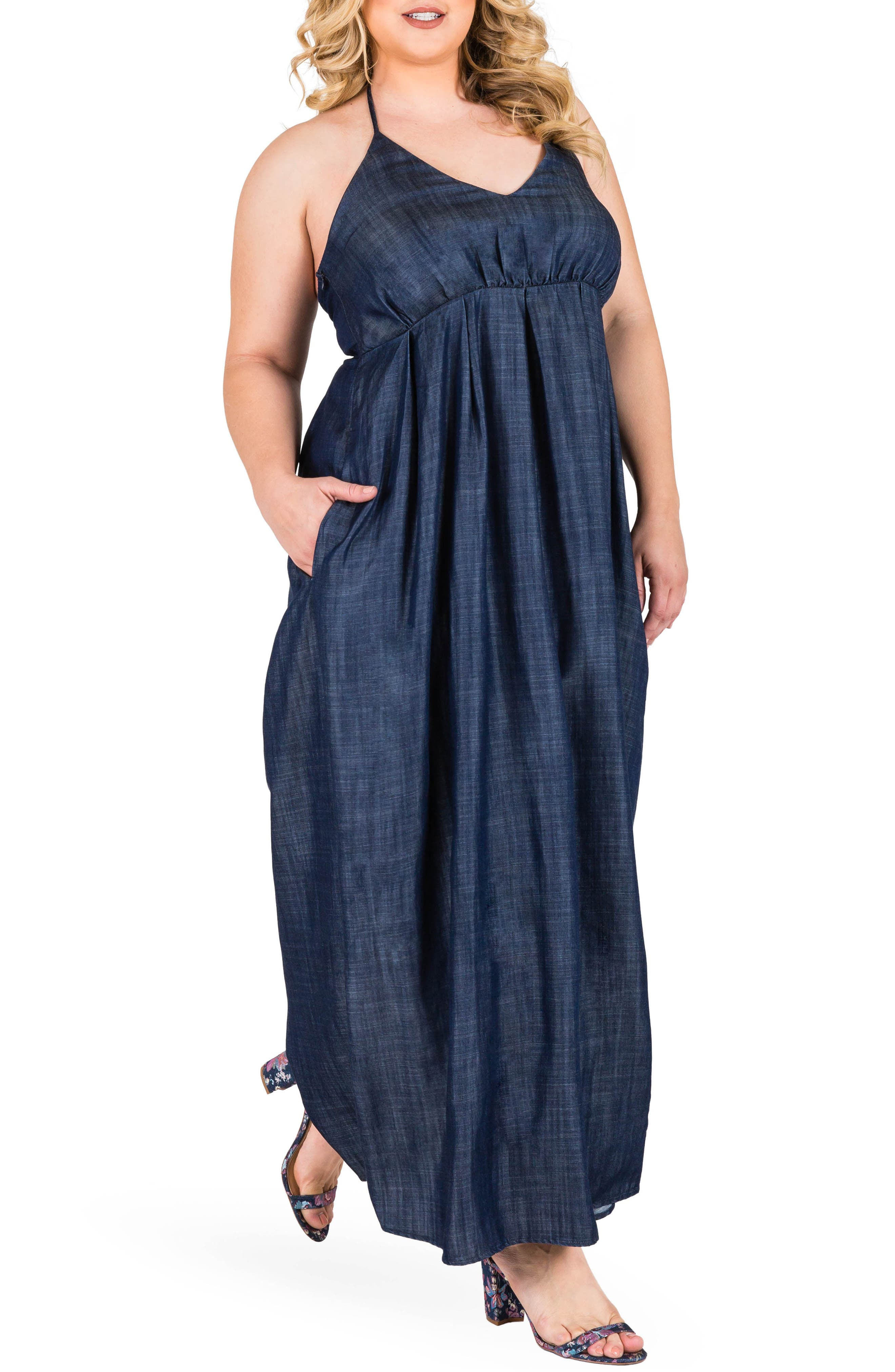 Maui Maxi Chambray Halter Dress,                         Main,                         color, DARK BLUE