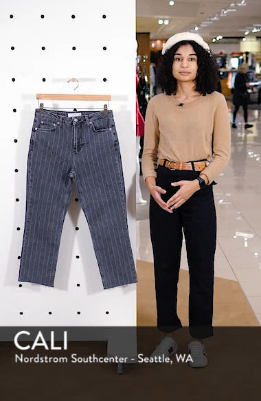 High Waist Pinstripe Jeans, sales video thumbnail