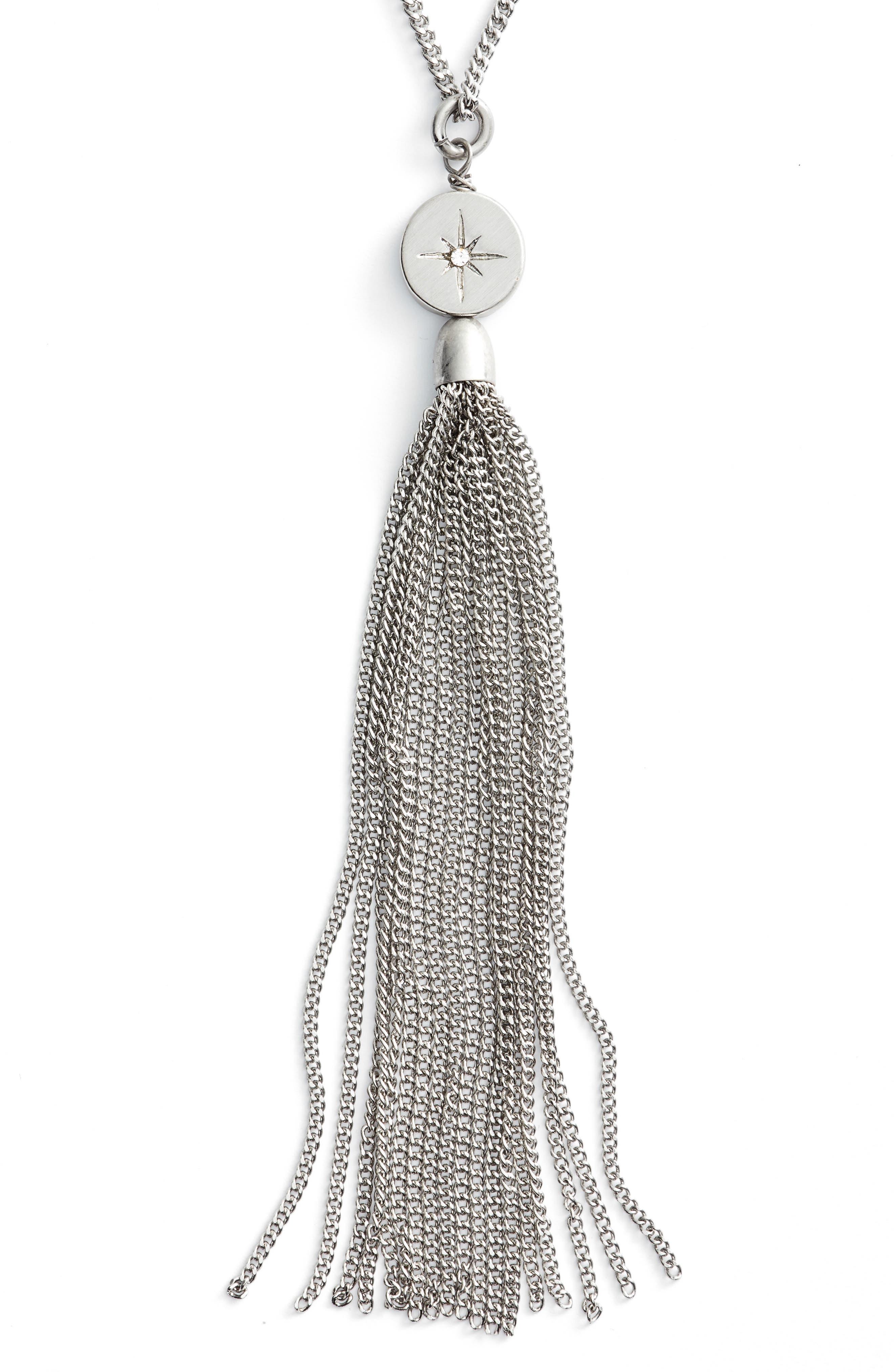 Star Disc Tassel Pendant Necklace,                             Main thumbnail 1, color,