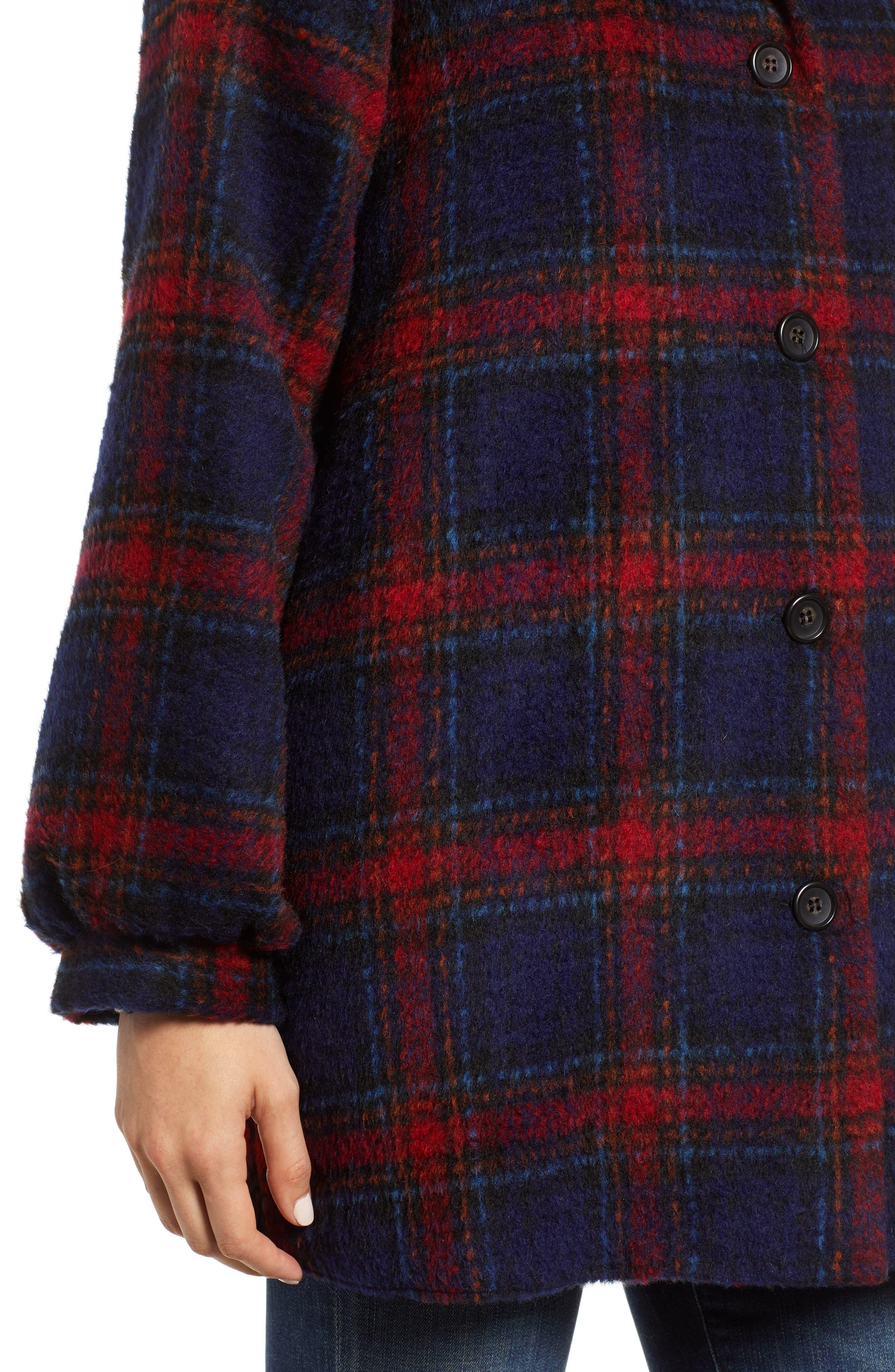 Plaid Wool Blend Jacket,                             Alternate thumbnail 4, color,                             MULTI