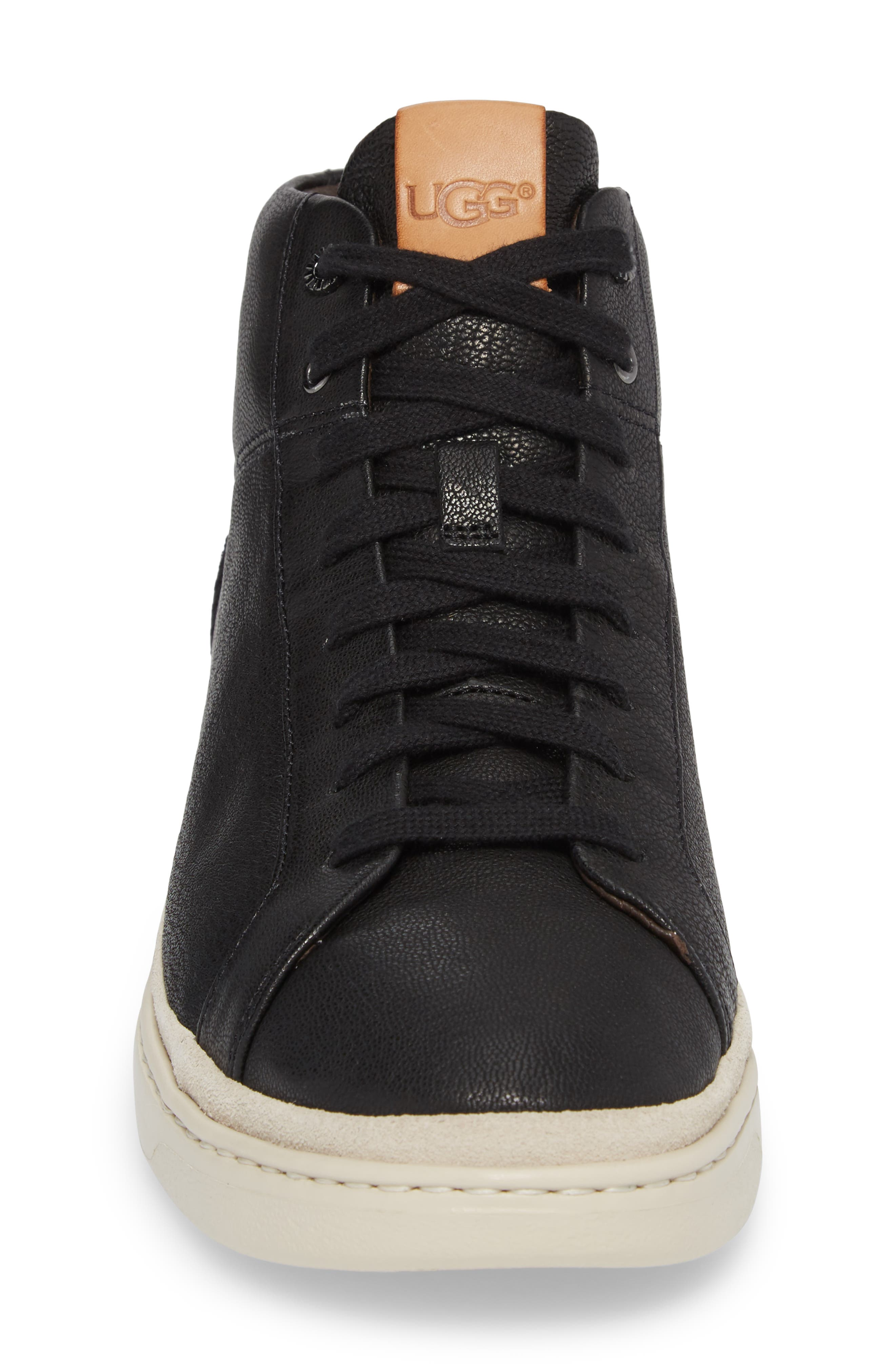 Cali High Top Sneaker,                             Alternate thumbnail 4, color,                             BLACK LEATHER