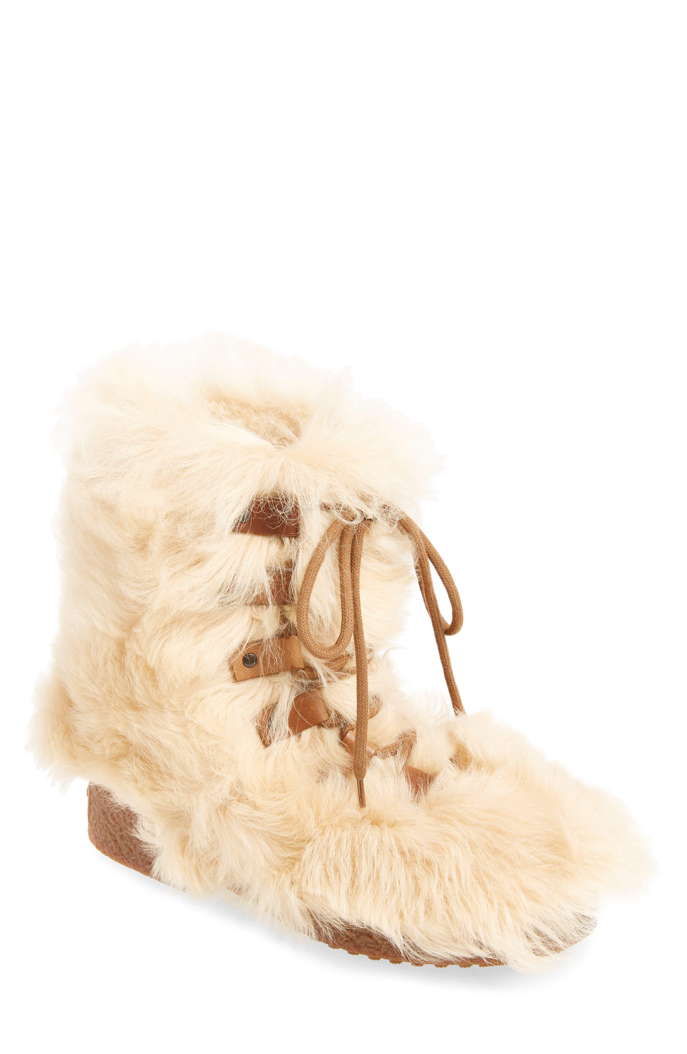 Furry Genuine Shearling Boot,                             Main thumbnail 1, color,                             278