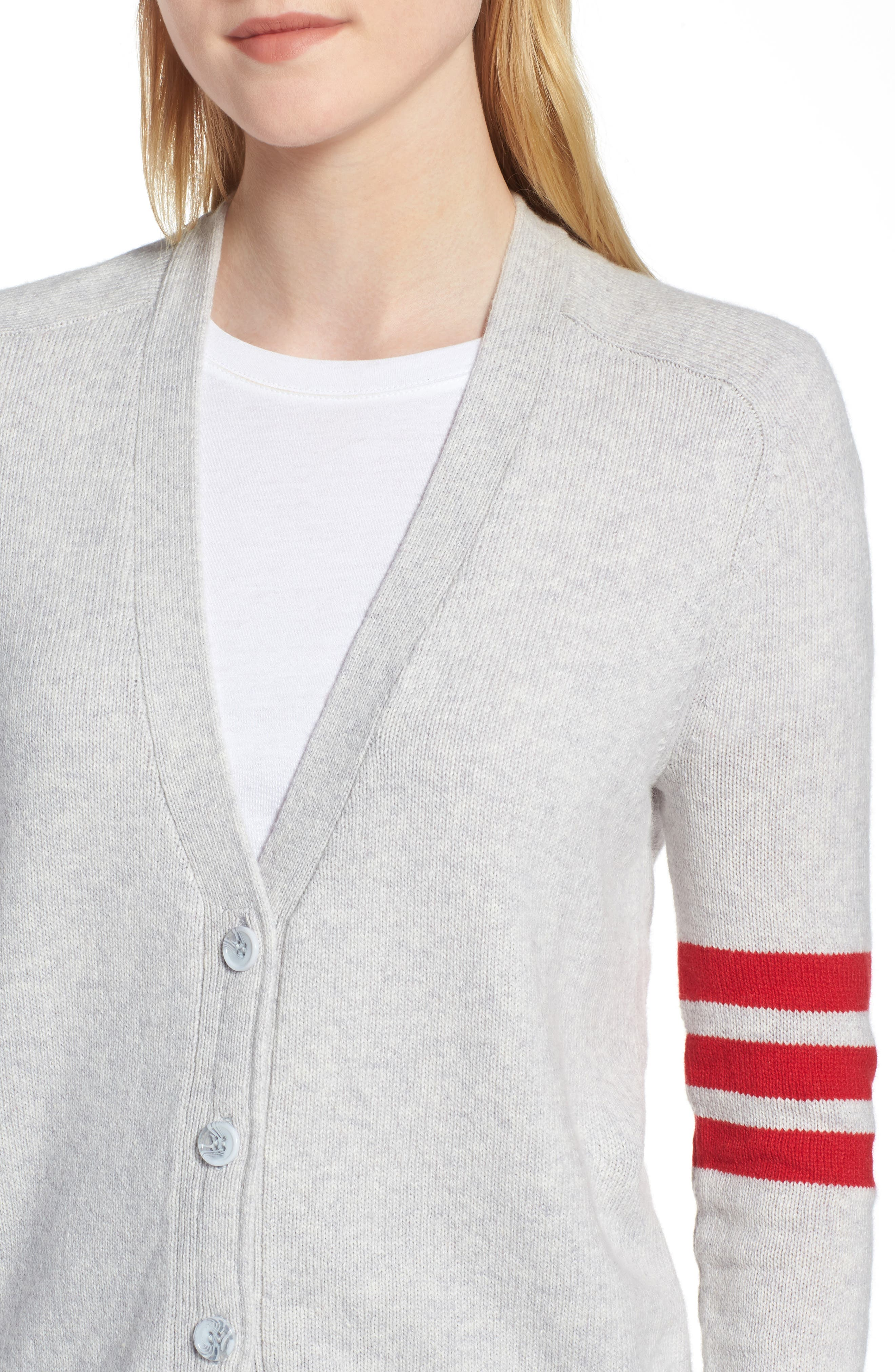Preppy V-Neck Cardigan,                             Alternate thumbnail 4, color,                             050