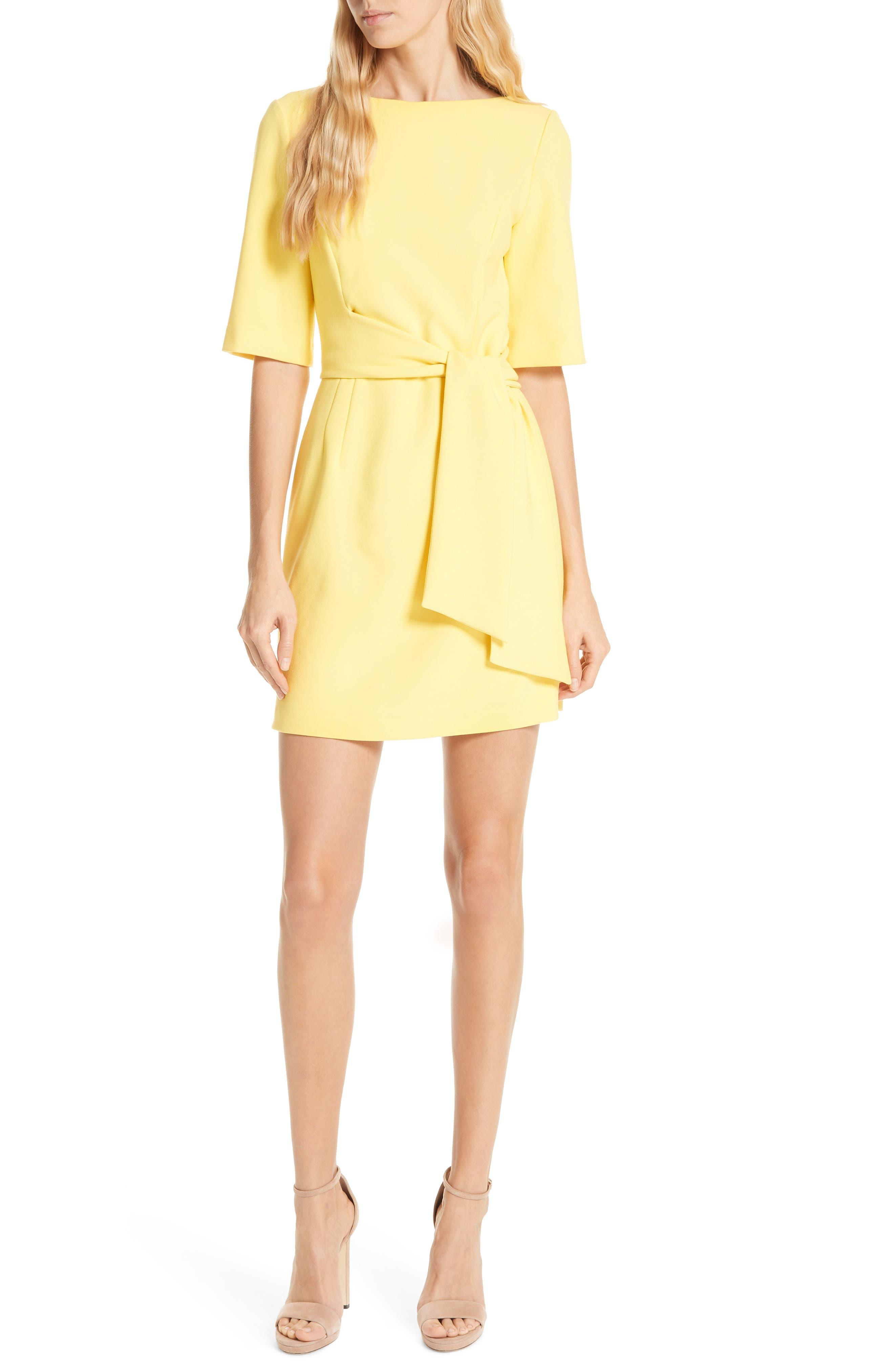 Alice + Olivia Virgil Tie Waist Minidress, Yellow