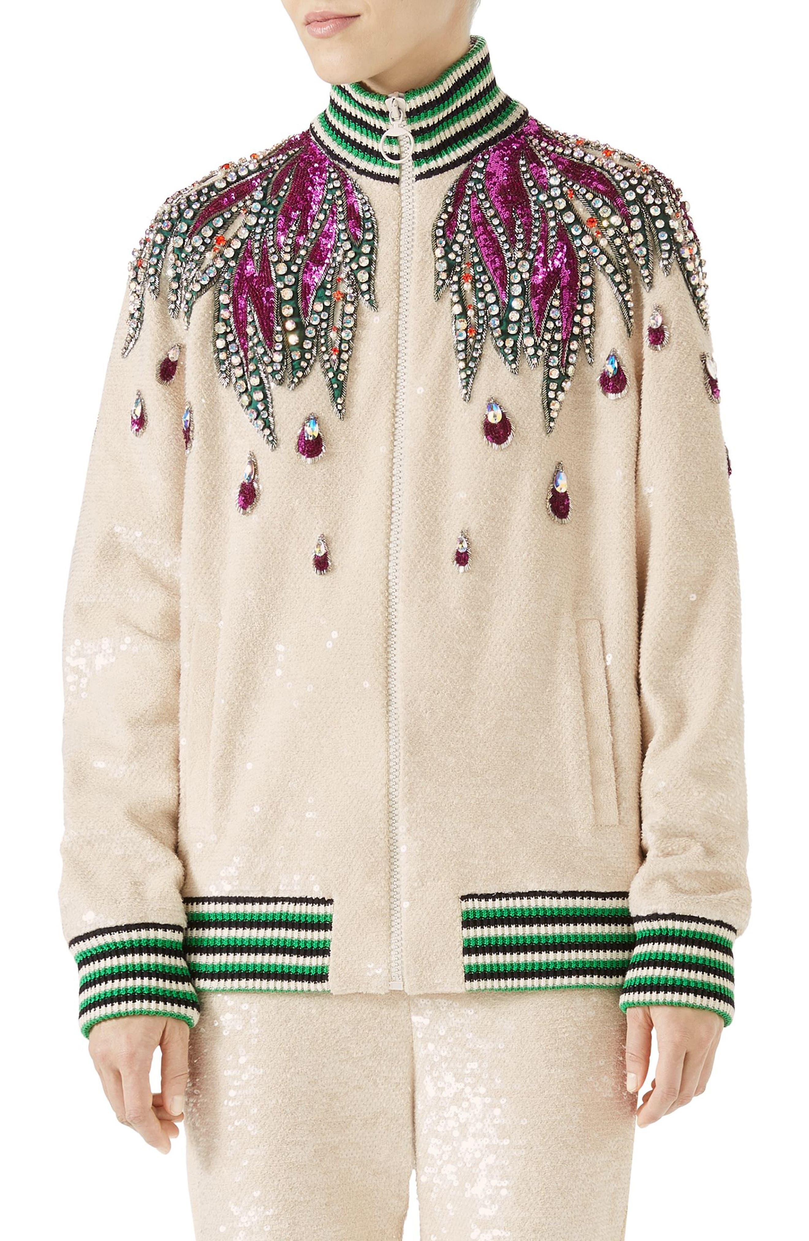 Embellished Track Jacket,                             Main thumbnail 1, color,                             GARDENIA/ MULTICOLOR